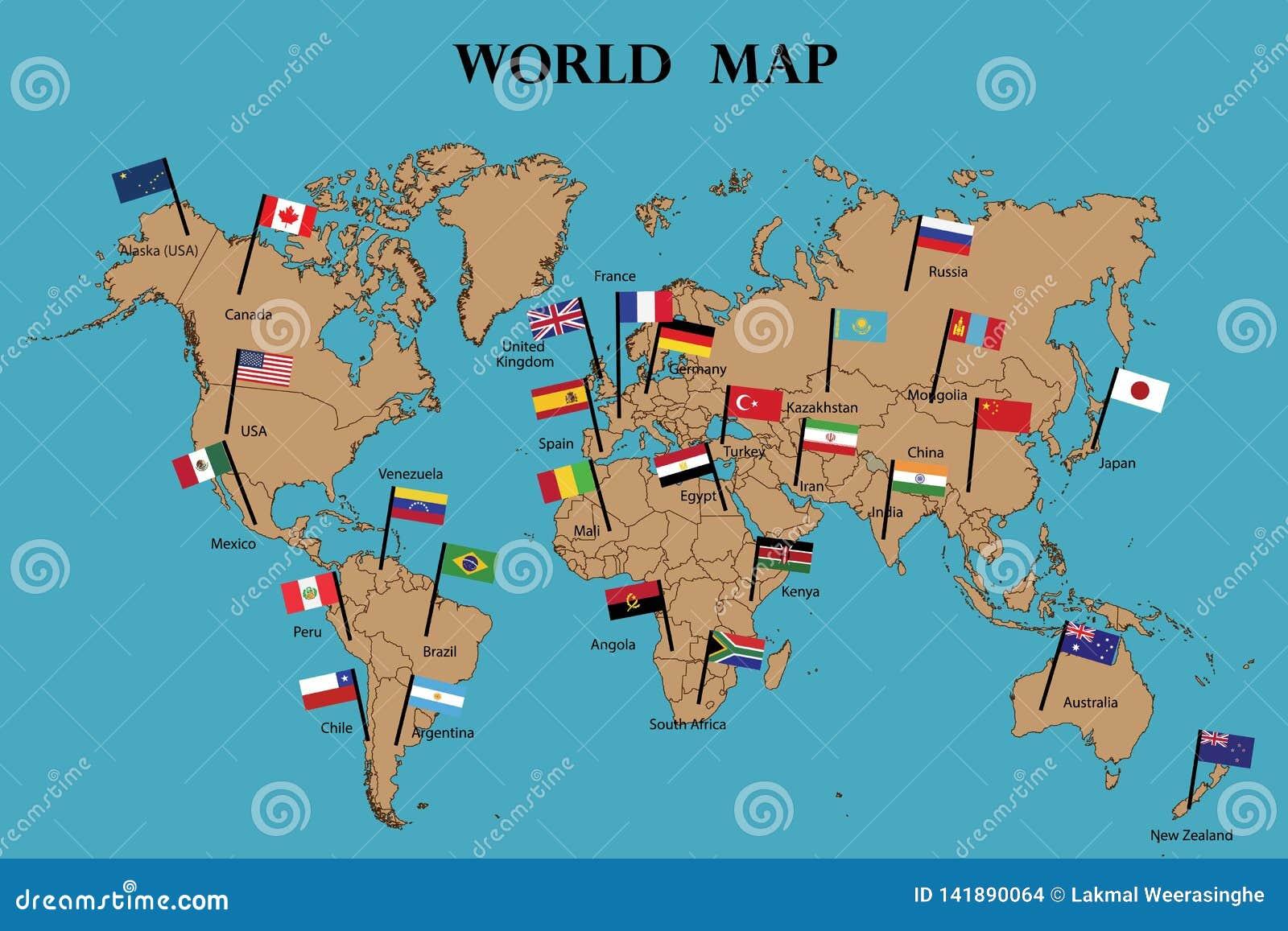 Παγκόσμιος χάρτης και παγκόσμια σημαία