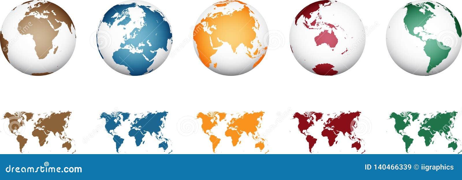 Παγκόσμιος χάρτης - υψηλό λεπτομερές διάνυσμα