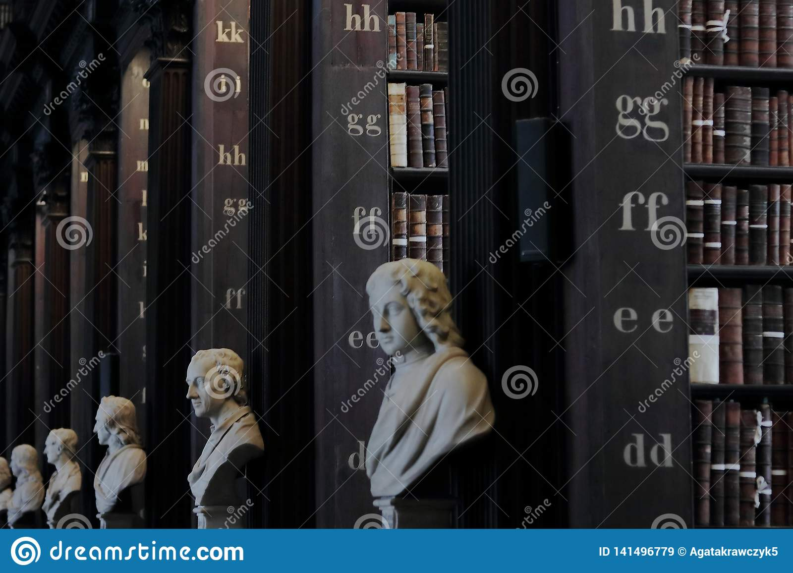 Παλαιά βιβλιοθήκη με τα ιστορικά βιβλία και τα γλυπτά