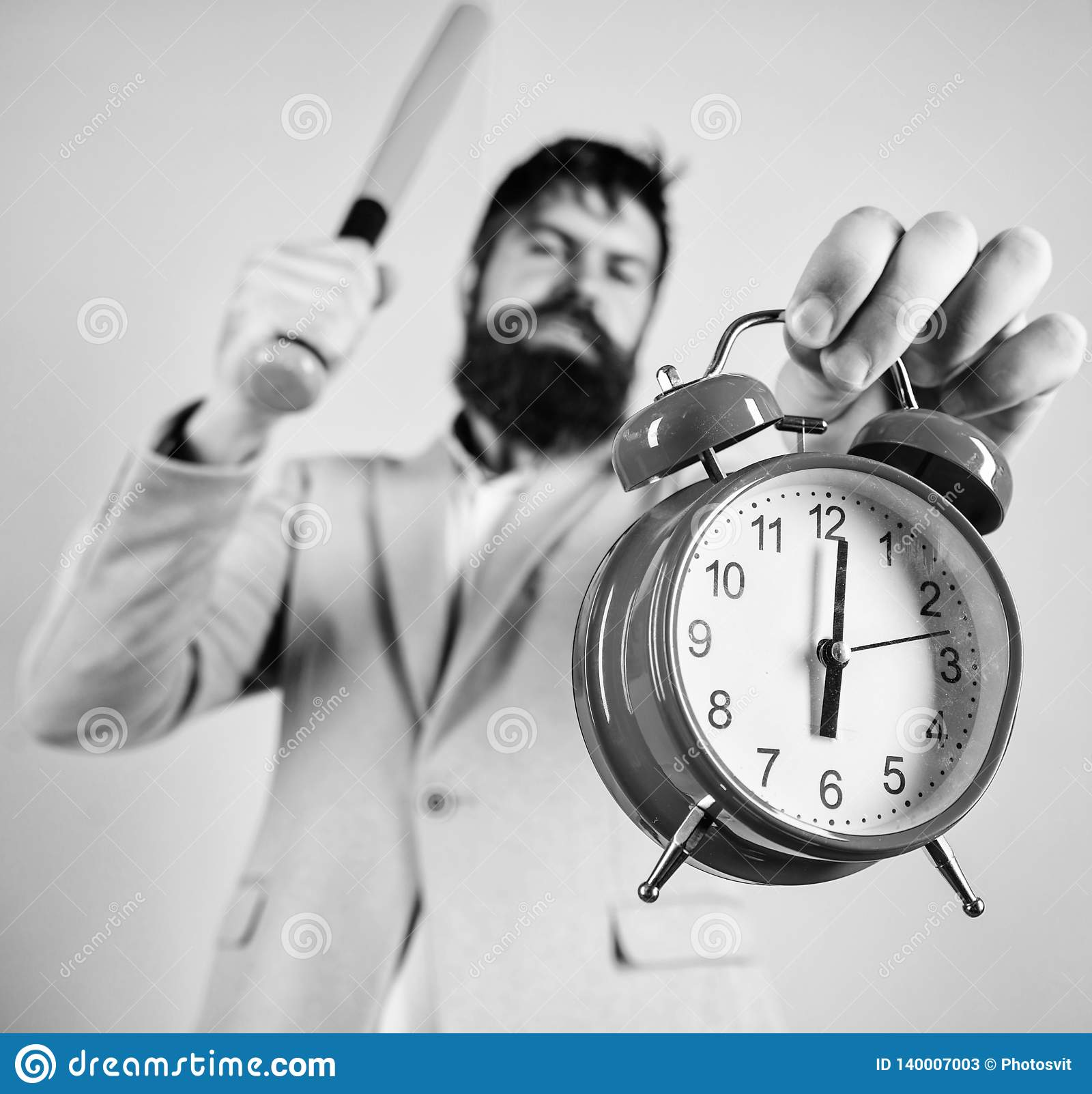 Πειθαρχία και κυρώσεις Κύριο επιθετικό ξυπνητήρι λαβής προσώπου Καταστρέψτε ή κλείστε Ρολόι και μπέιζ-μπώλ λαβής κοστουμιών ατόμω