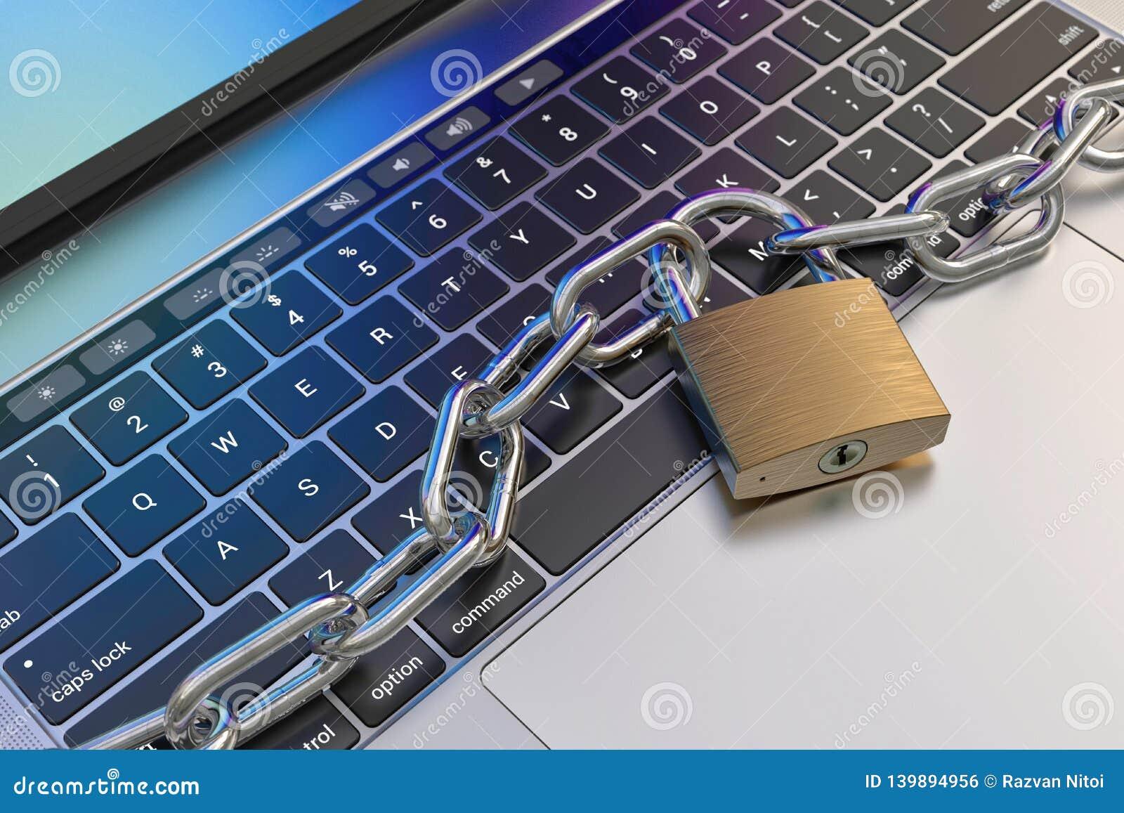 Πληκτρολόγιο υπολογιστών που κλειδώνεται με το λουκέτο και την αλυσίδα - ασφάλεια
