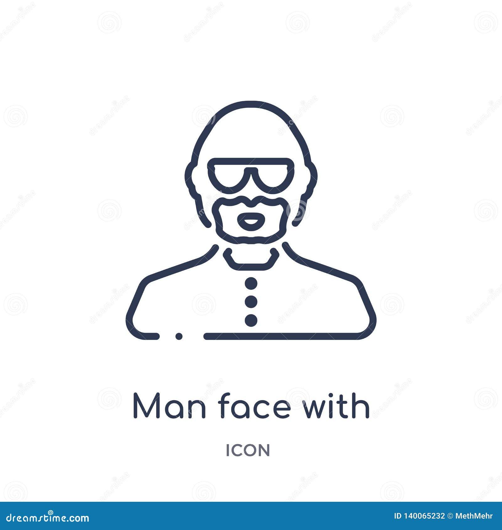 πρόσωπο ατόμων με τα γυαλιά και goatee εικονίδιο από τη συλλογή περιλήψεων ανθρώπων Λεπτό πρόσωπο ατόμων γραμμών με τα γυαλιά και