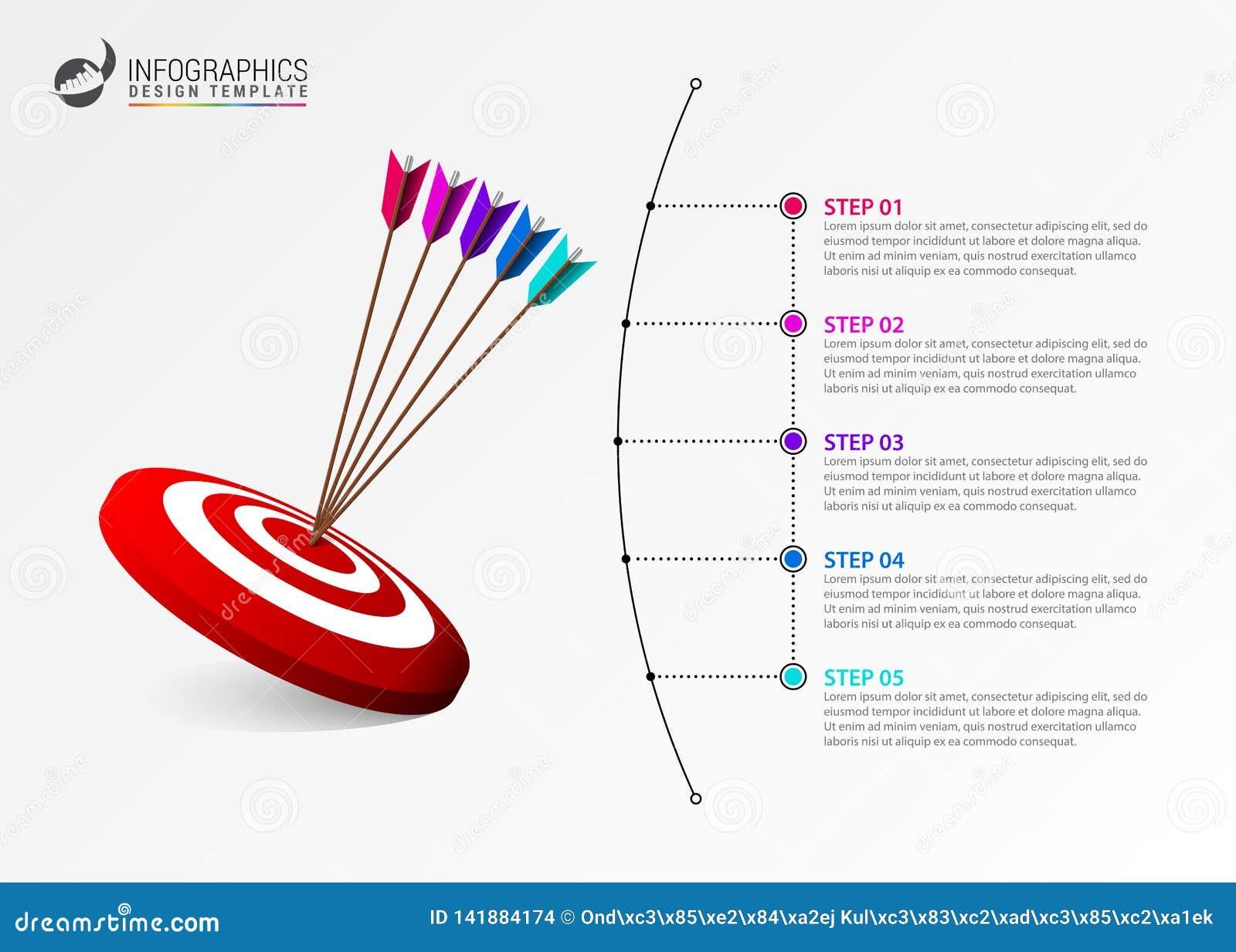 Πρότυπο σχεδίου Infographic Δημιουργική έννοια με 5 βήματα