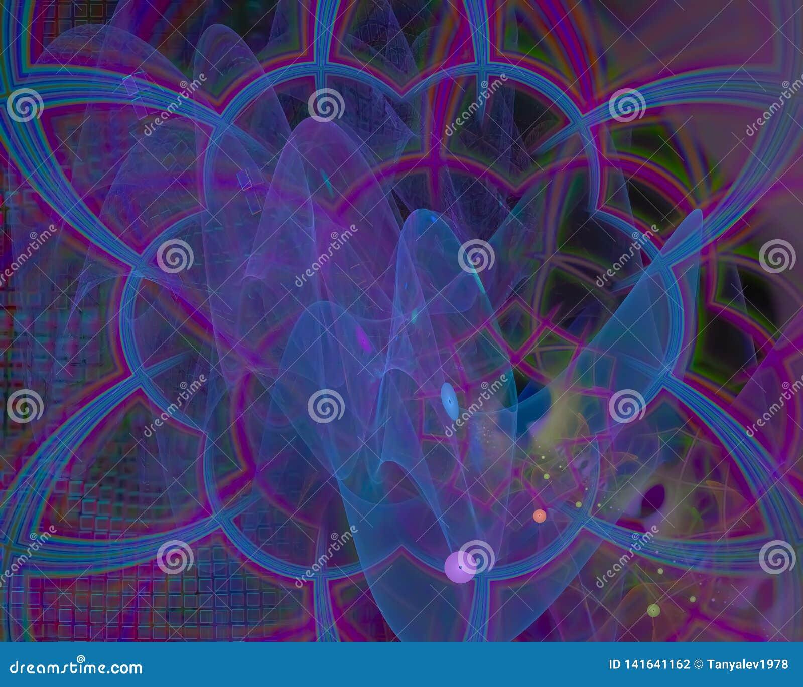 Абстрактная цифровая фантазия фрактали скручиваемости воображения карты орнамента творческая, художественный, элегантность,