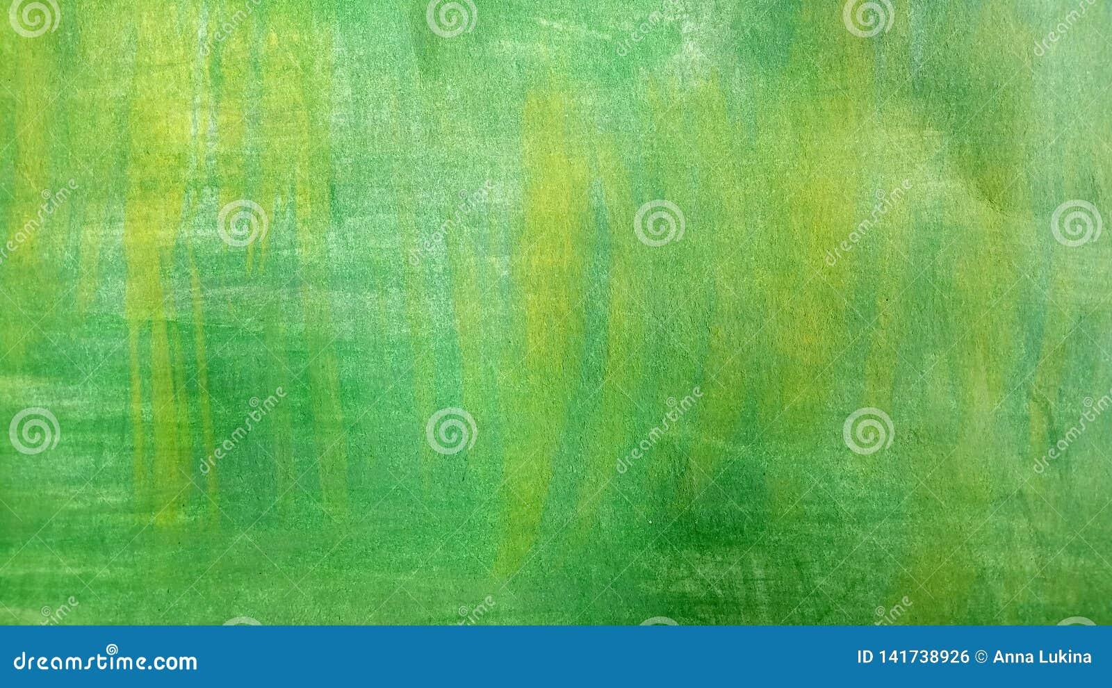 Абстрактный зеленый фон акварели с затрапезным желтым цветом