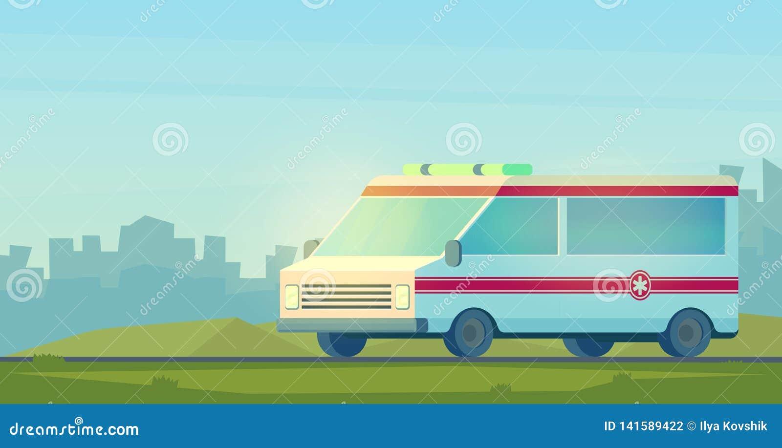 Автомобиль машины скорой помощи в городе Машина для обеспечивать первую необходимую непредвиденную медицинскую помощь Шарж вектор