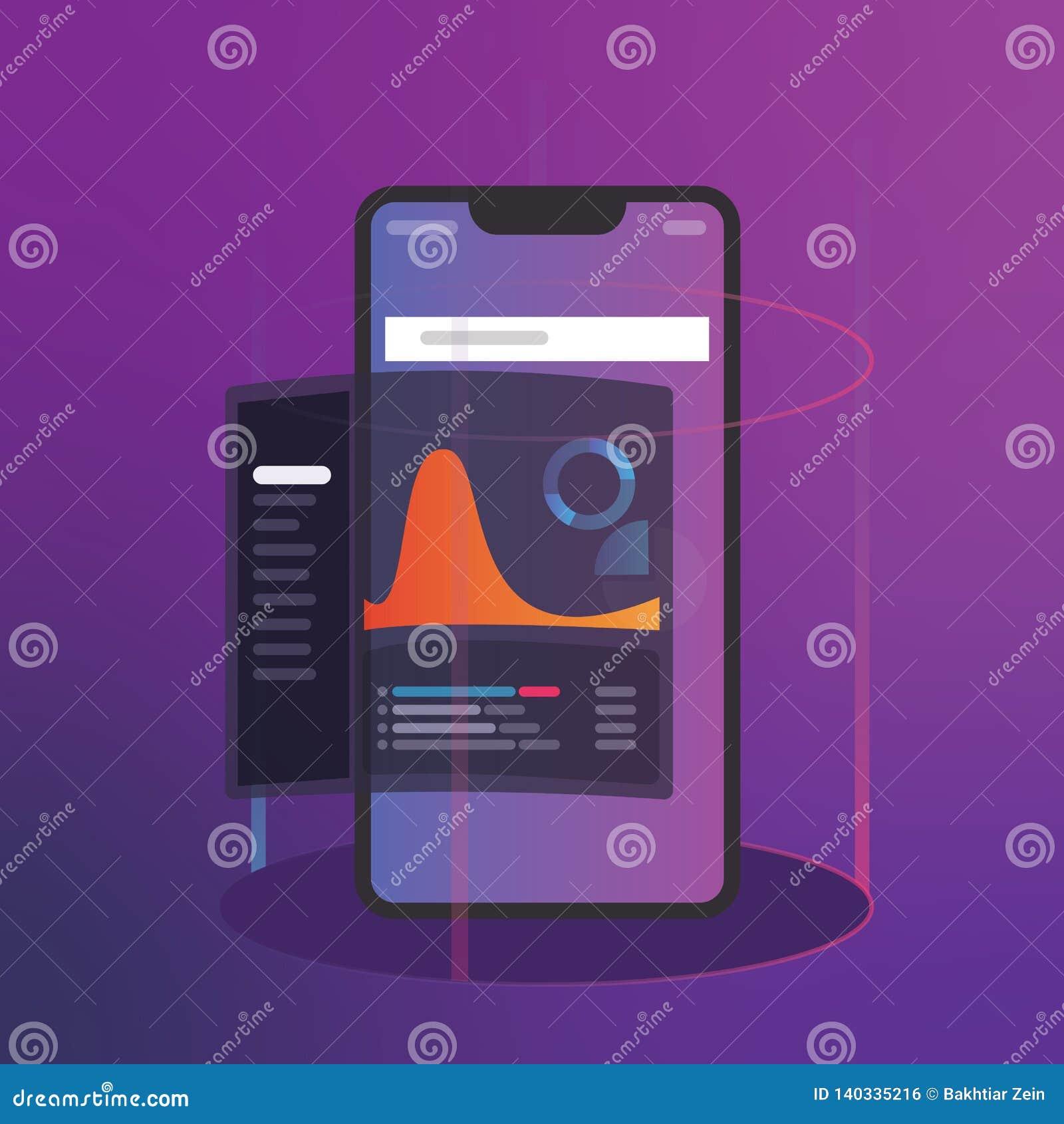 Аналитик разума и дела с концепцией приборной панели индикаторов ключевой производительности цифровая умная чернь телефона
