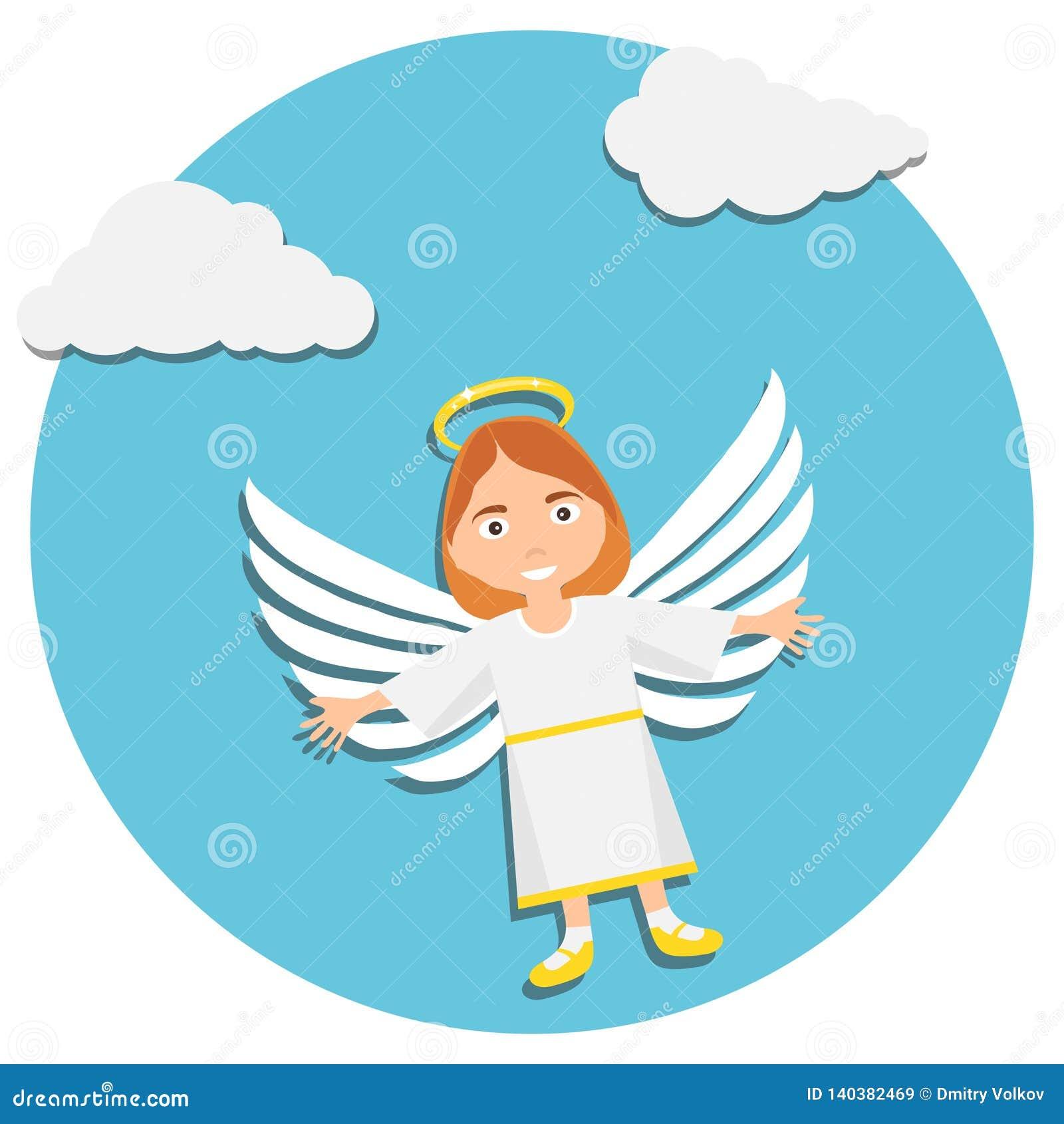 Ангел рождества милый рождество младенца ангела Иллюстрация молодого ангела в белый молить
