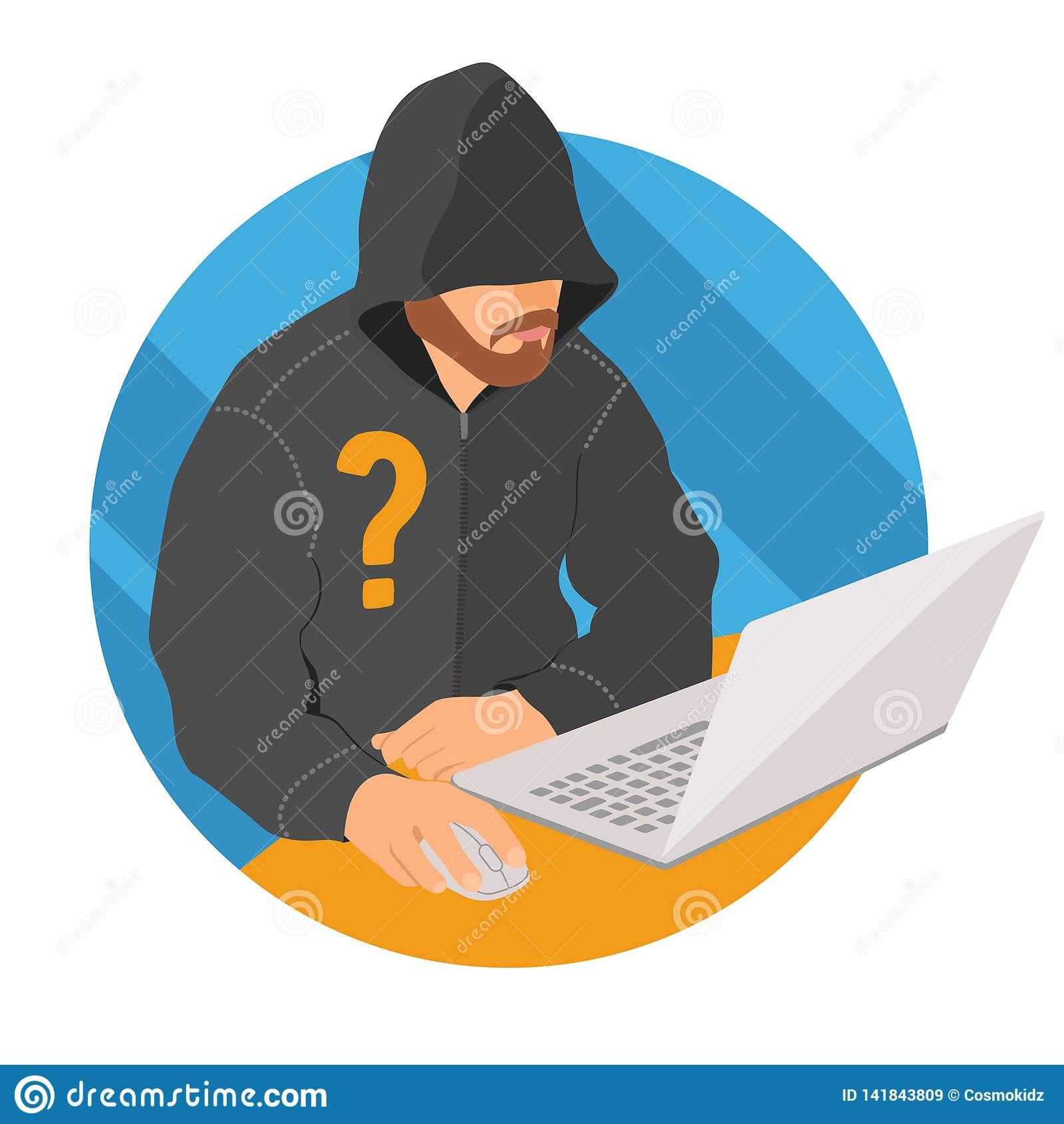 Анонимный потребитель на значке ноутбука, плоском знаке анонимности сети дизайна