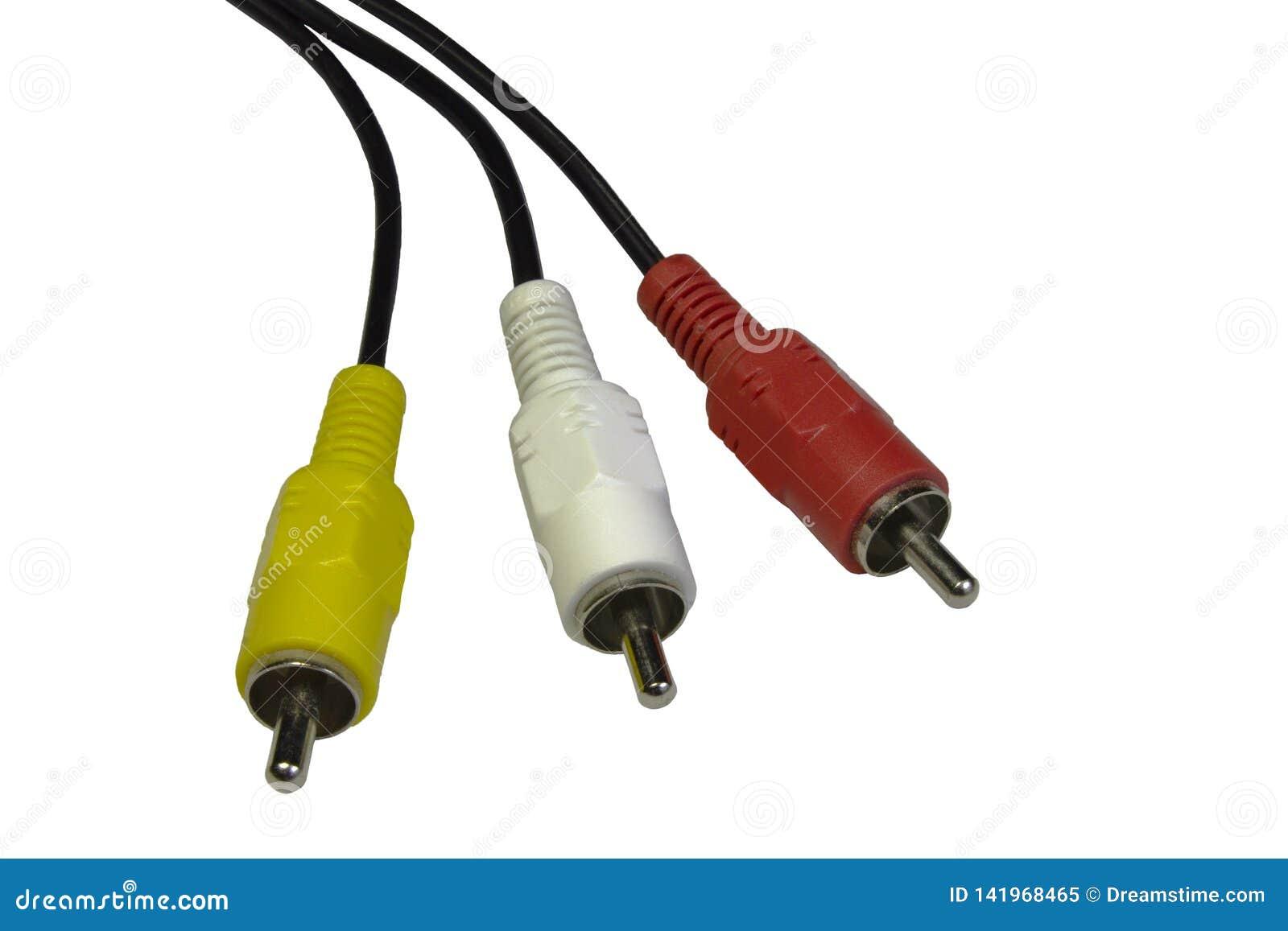 Аудио видео- предпосылка изолированная кабелем белая