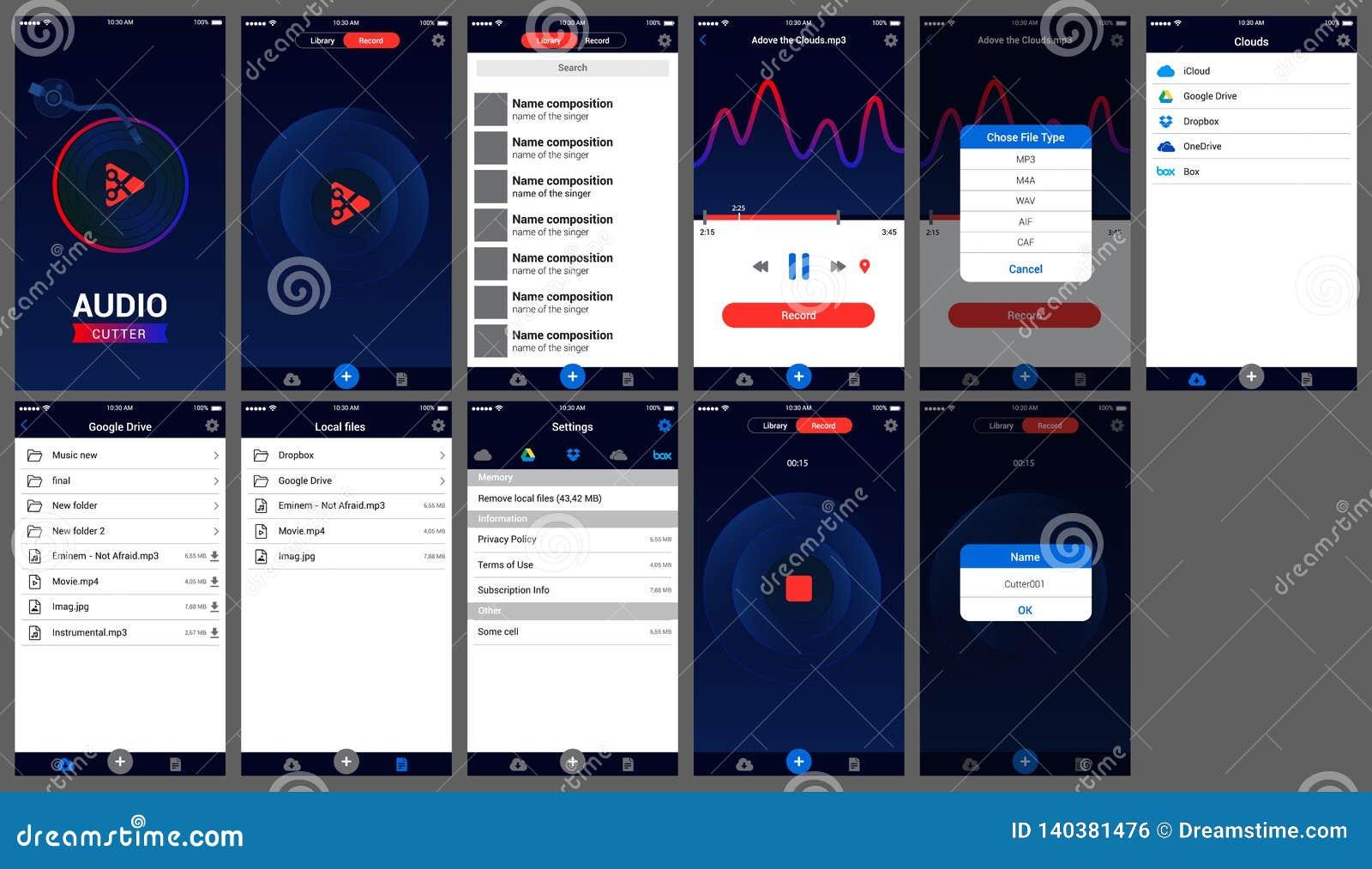Аудио ios дизайна ui приложения резца