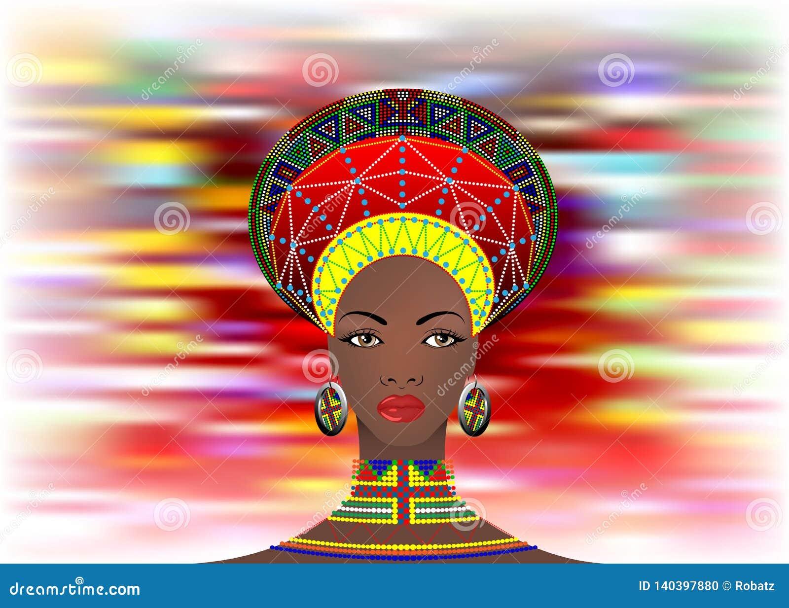 Африканское племя одевает женского Зулуса, портрета милой южно-африканской женщины Типичная одежда для пожененных женщин, маленьк