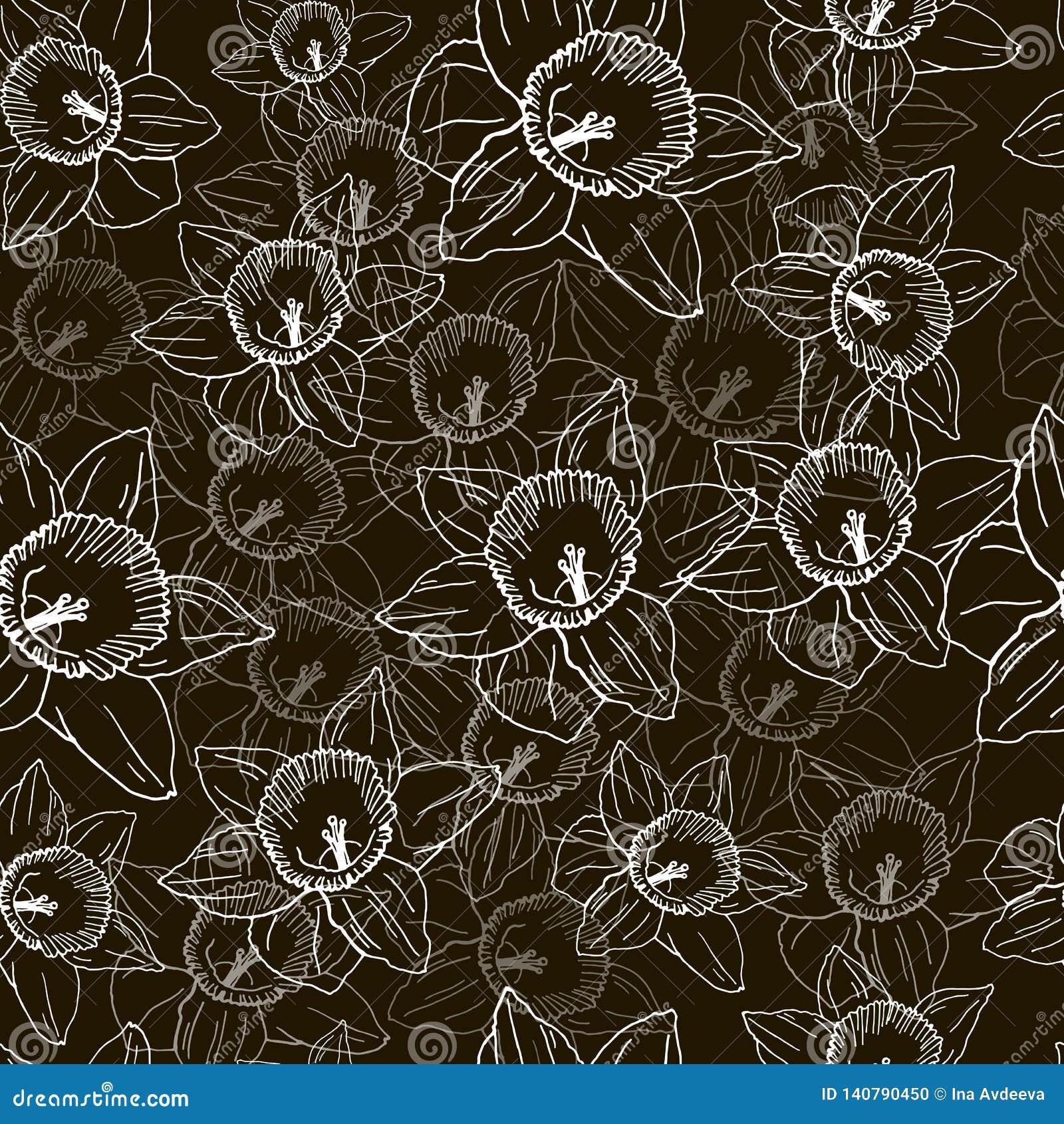 Безшовная картина с белыми daffodils на черной предпосылке