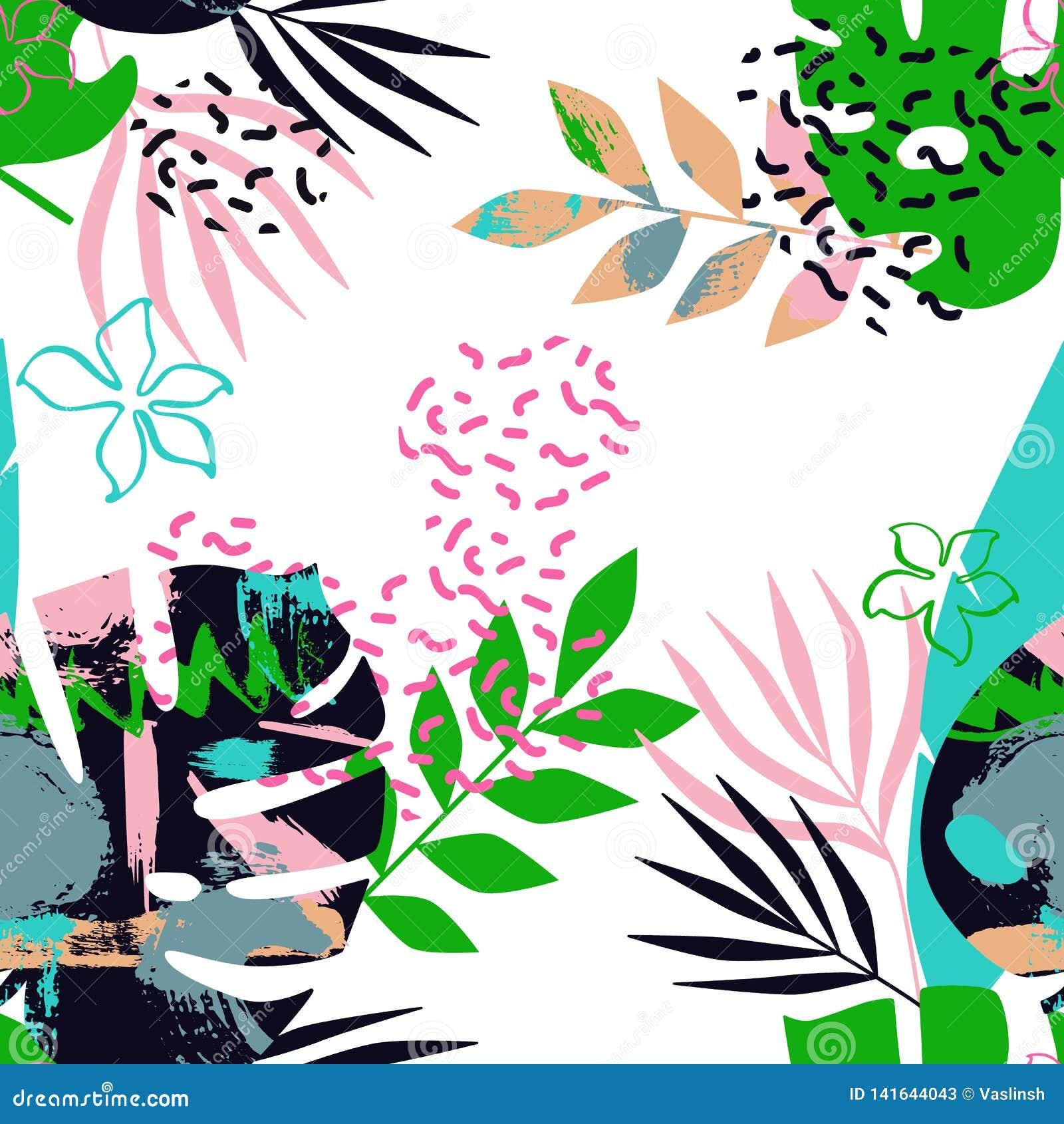 Безшовная картина тропических листьев с Мемфисом