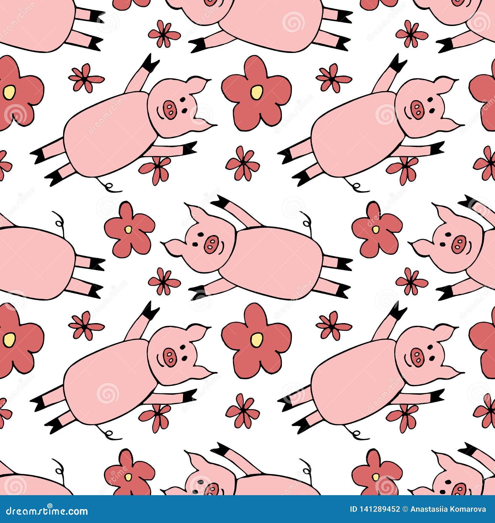Безшовная картина со свиньей и цветками мультфильма иллюстрация Нового Года 2019 символа