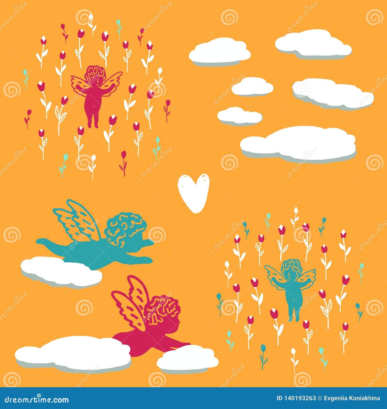 Безшовная предпосылка лета с ангелами в цветках