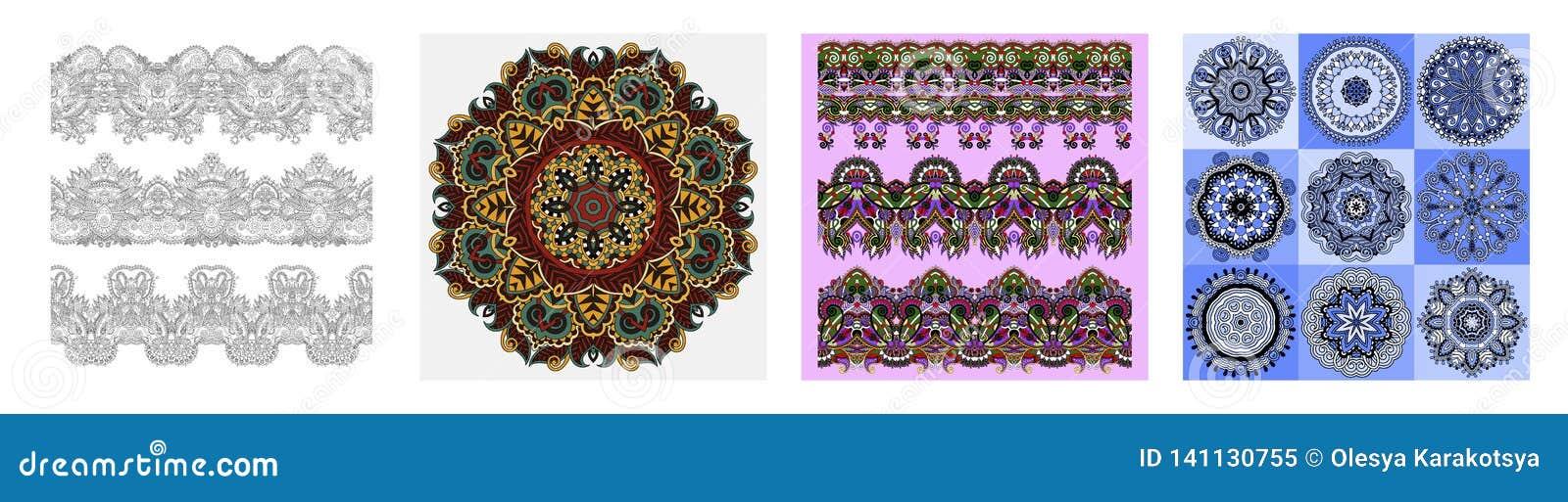 Безшовные орнаментальные флористические нашивки в индийском стиле kalamkari