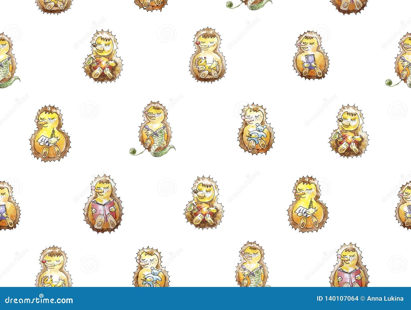 Безшовный набор картины ежи семьи из семи человек дружелюбные которые имеют потеху Чтение, вяжущ, ел, спать, играя, ca