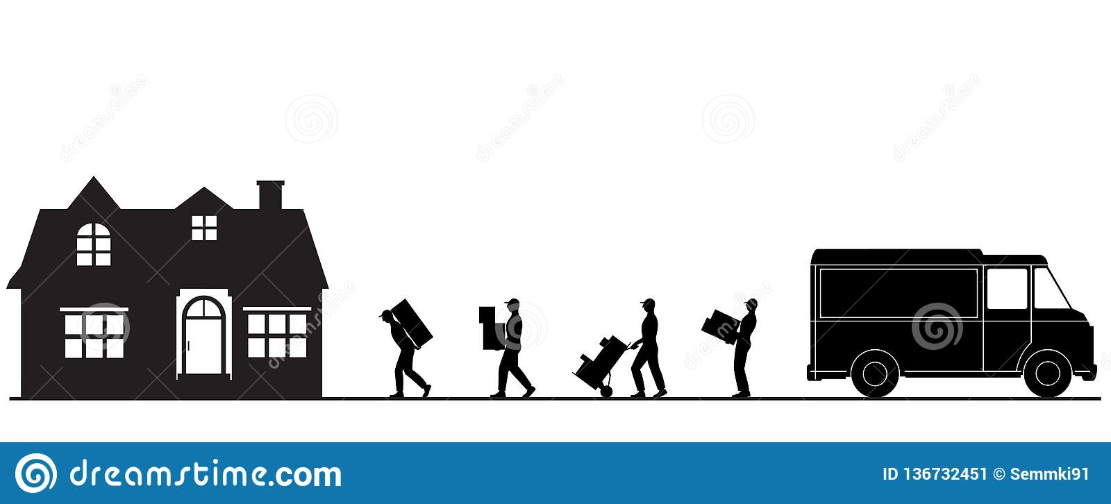 illustration porters carry boxes. Moving to a new house. Unloading a truck.Transport company. Goods delivery