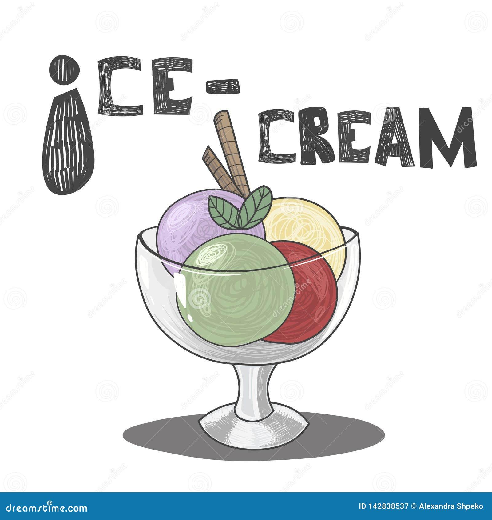 Ice-cream. ABC vector.