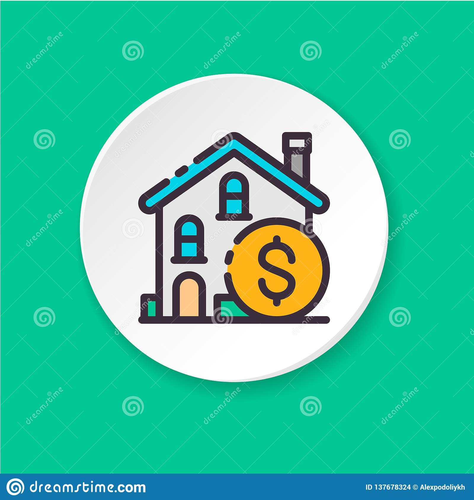 Concept Real estate investment. Button for web or mobile app.