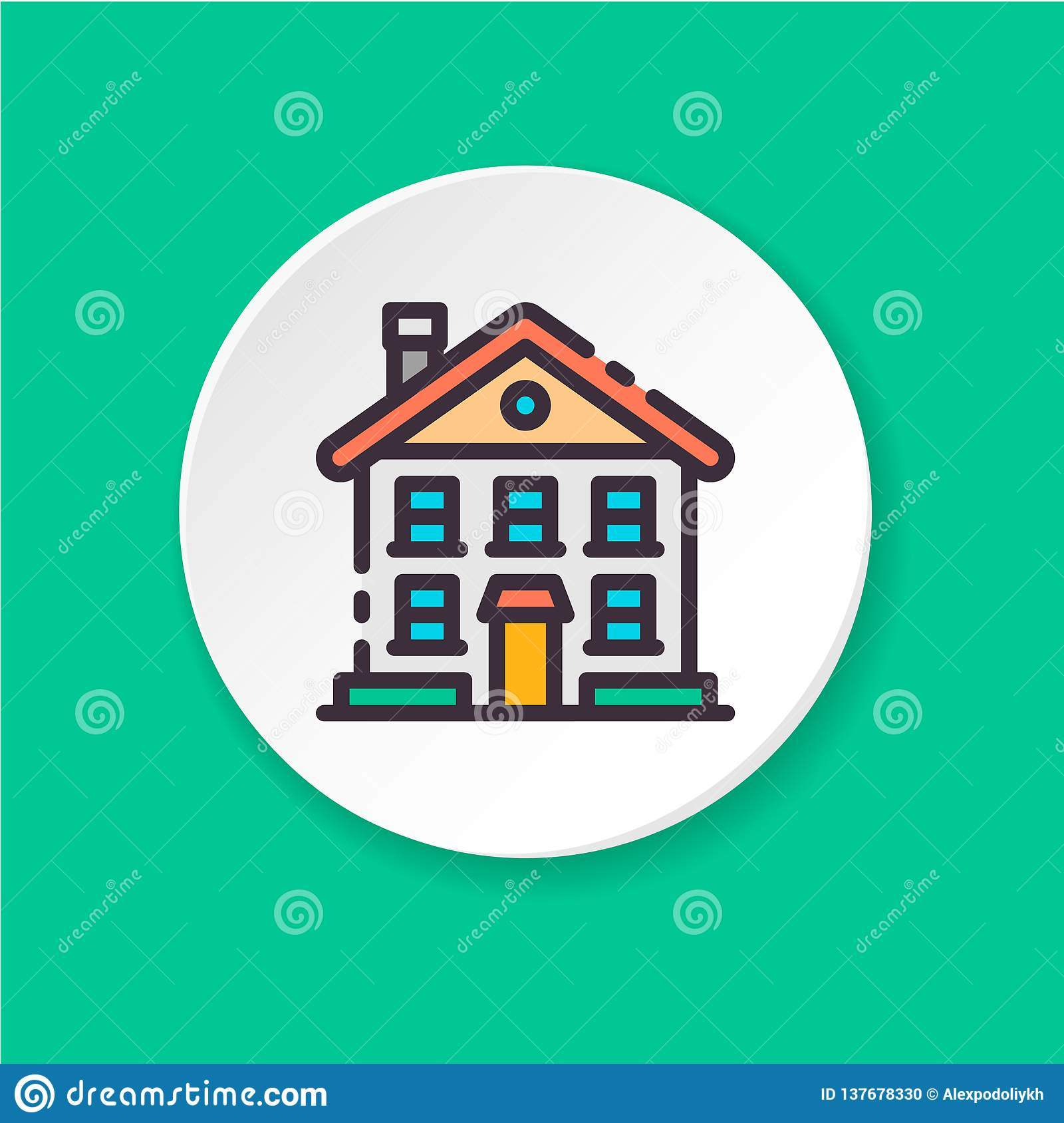 Flat icon two-storey house. UI/UX user interface.