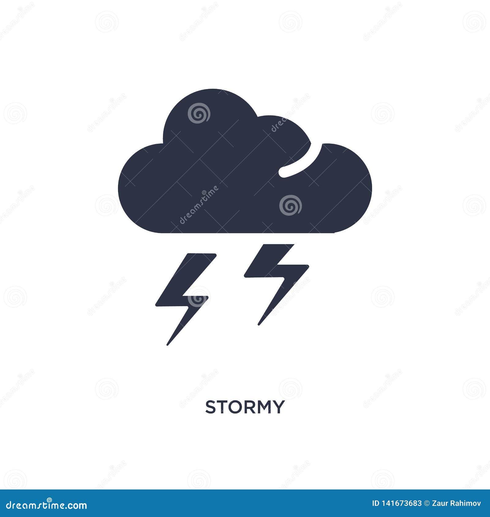 бурный значок на белой предпосылке Простая иллюстрация элемента от концепции погоды
