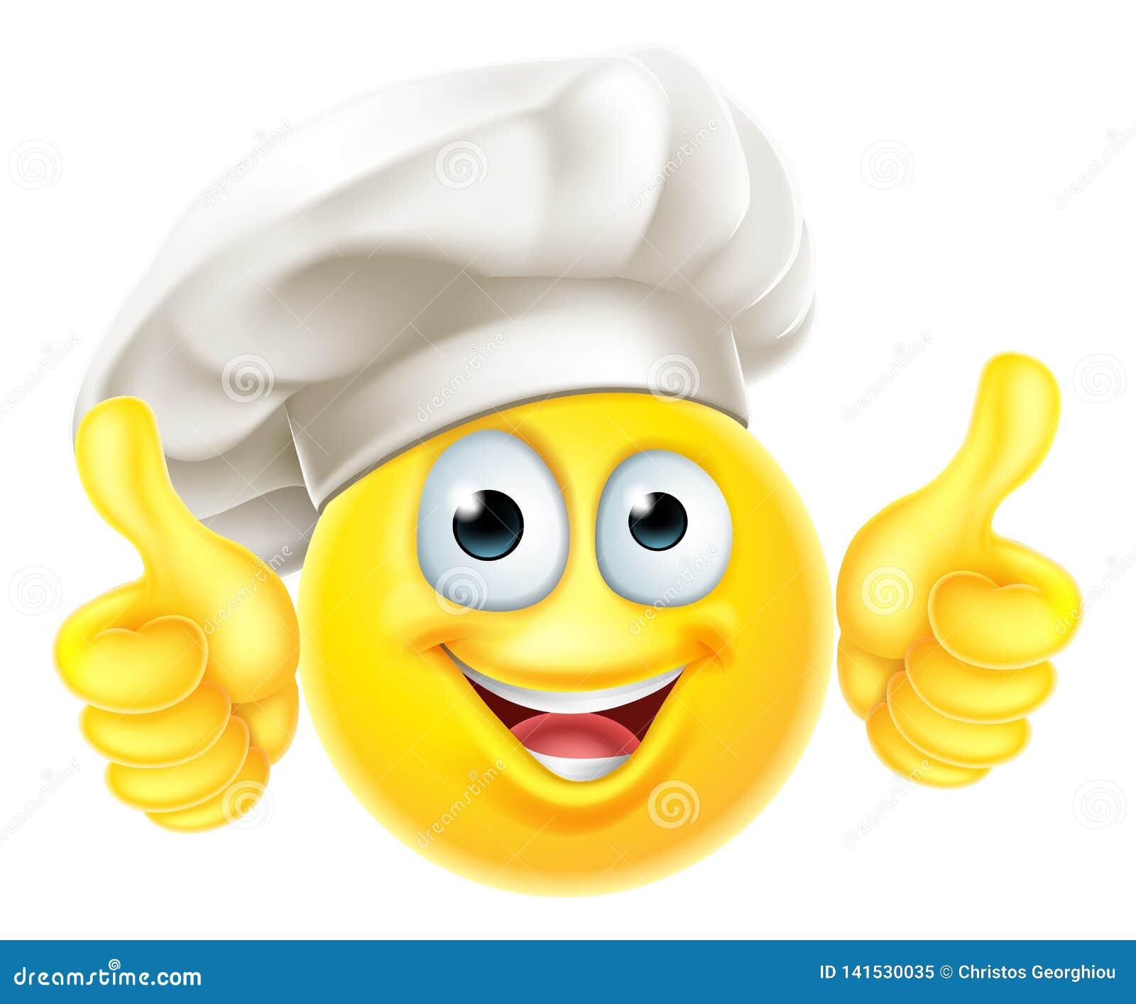 Большие пальцы руки мультфильма повара шеф-повара Emoji вверх