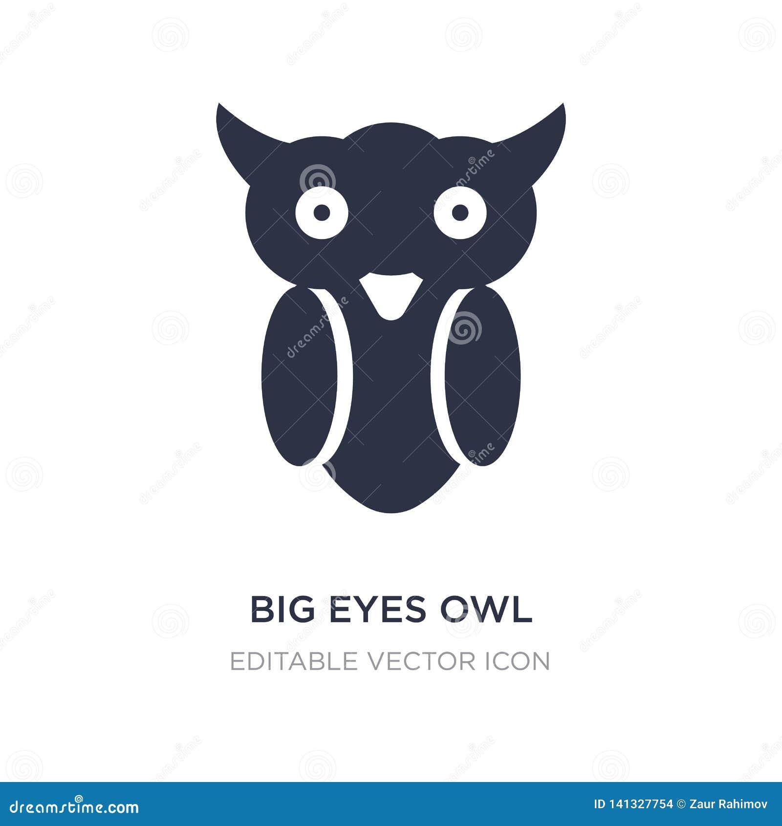 большой значок сыча глаз на белой предпосылке Простая иллюстрация элемента от концепции животных