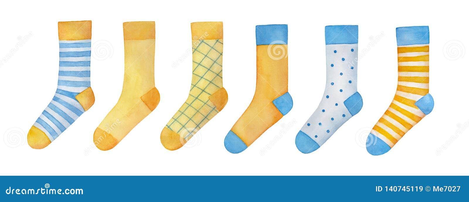 Большой набор иллюстрации различных красочных пар носков