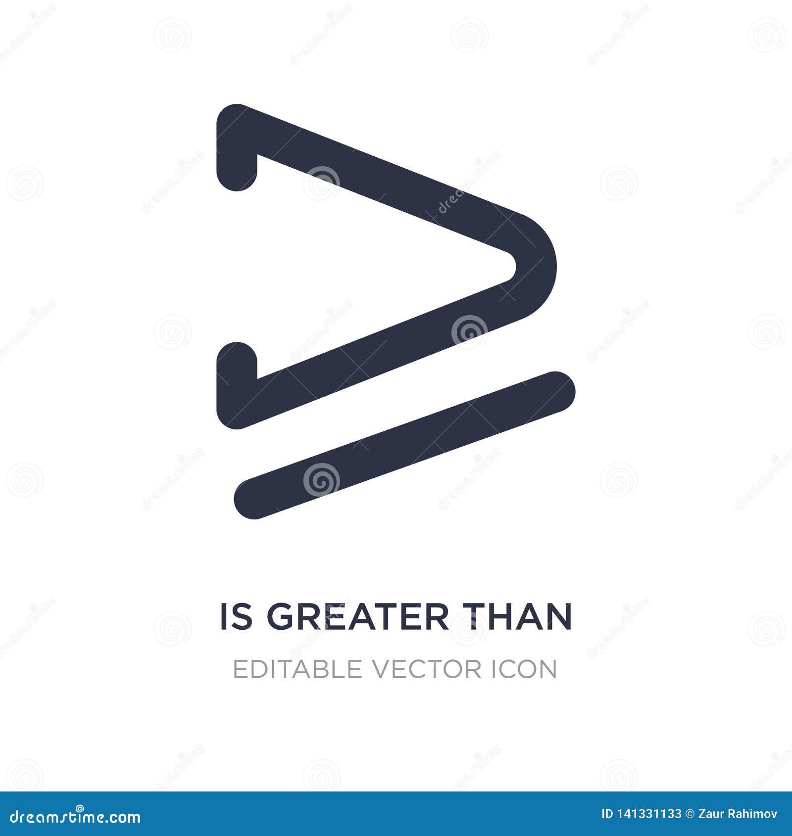 большой чем или равный к значок на белой предпосылке Простая иллюстрация элемента от концепции знаков