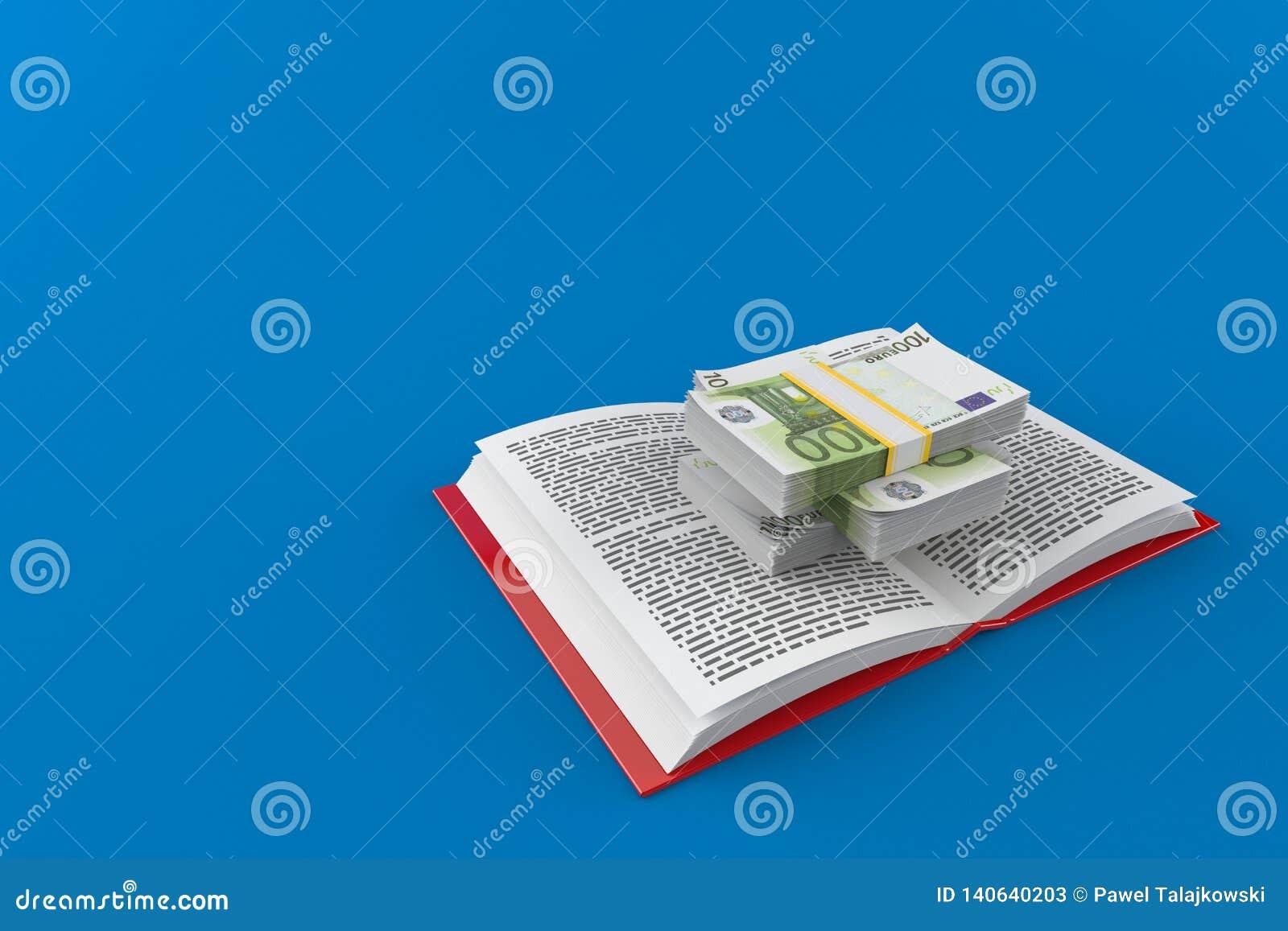 Валюта евро на открытой книге