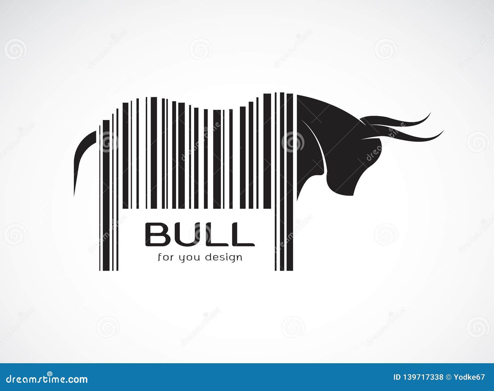 Вектор быка на теле штрихкод животные одичалые Дизайн Bull Легкая editable наслоенная иллюстрация вектора