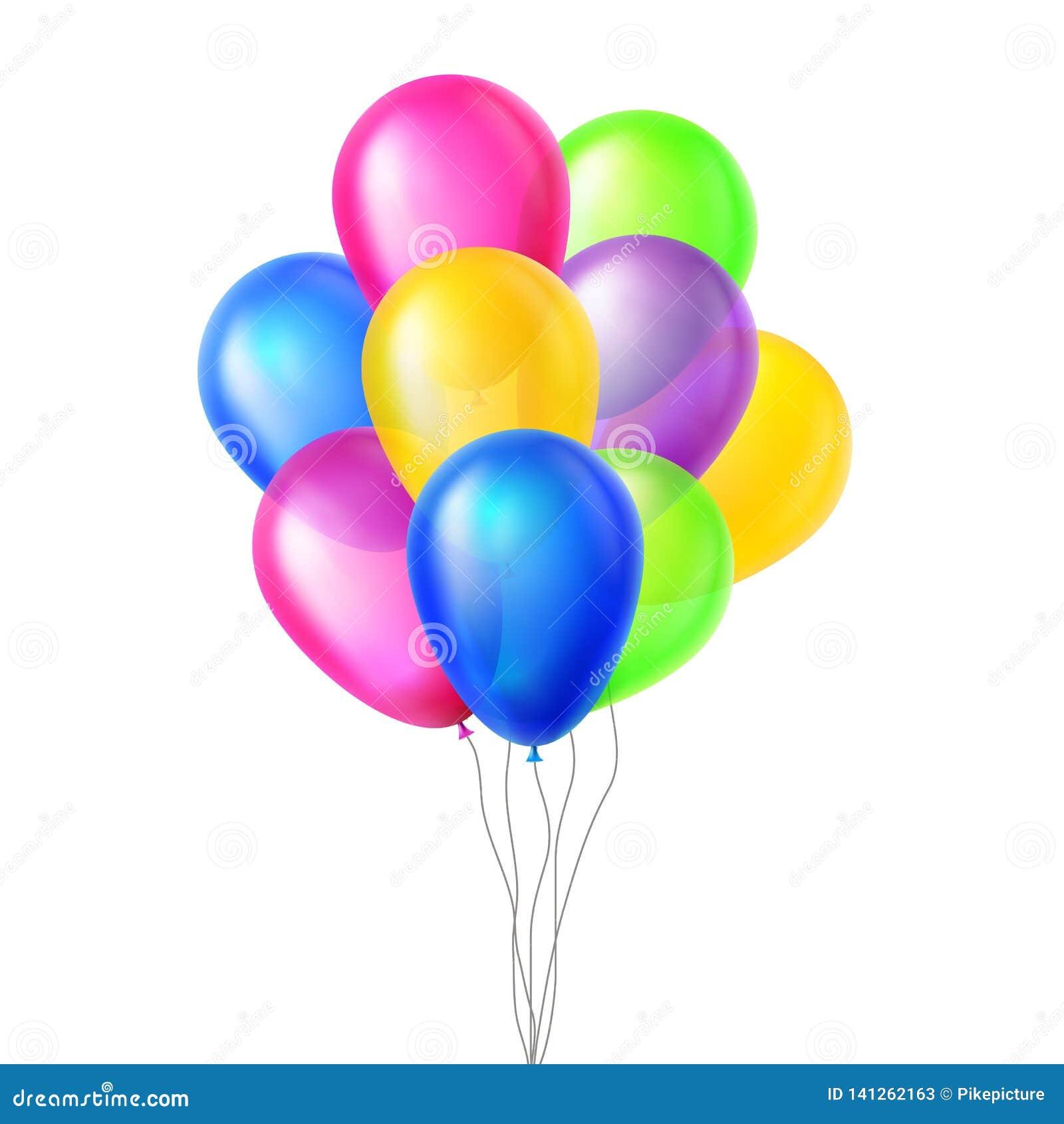 Вектор воздушных шаров В воздухе большой сярприз Пук группы летание День рождения, украшение элементов события праздника реалисти