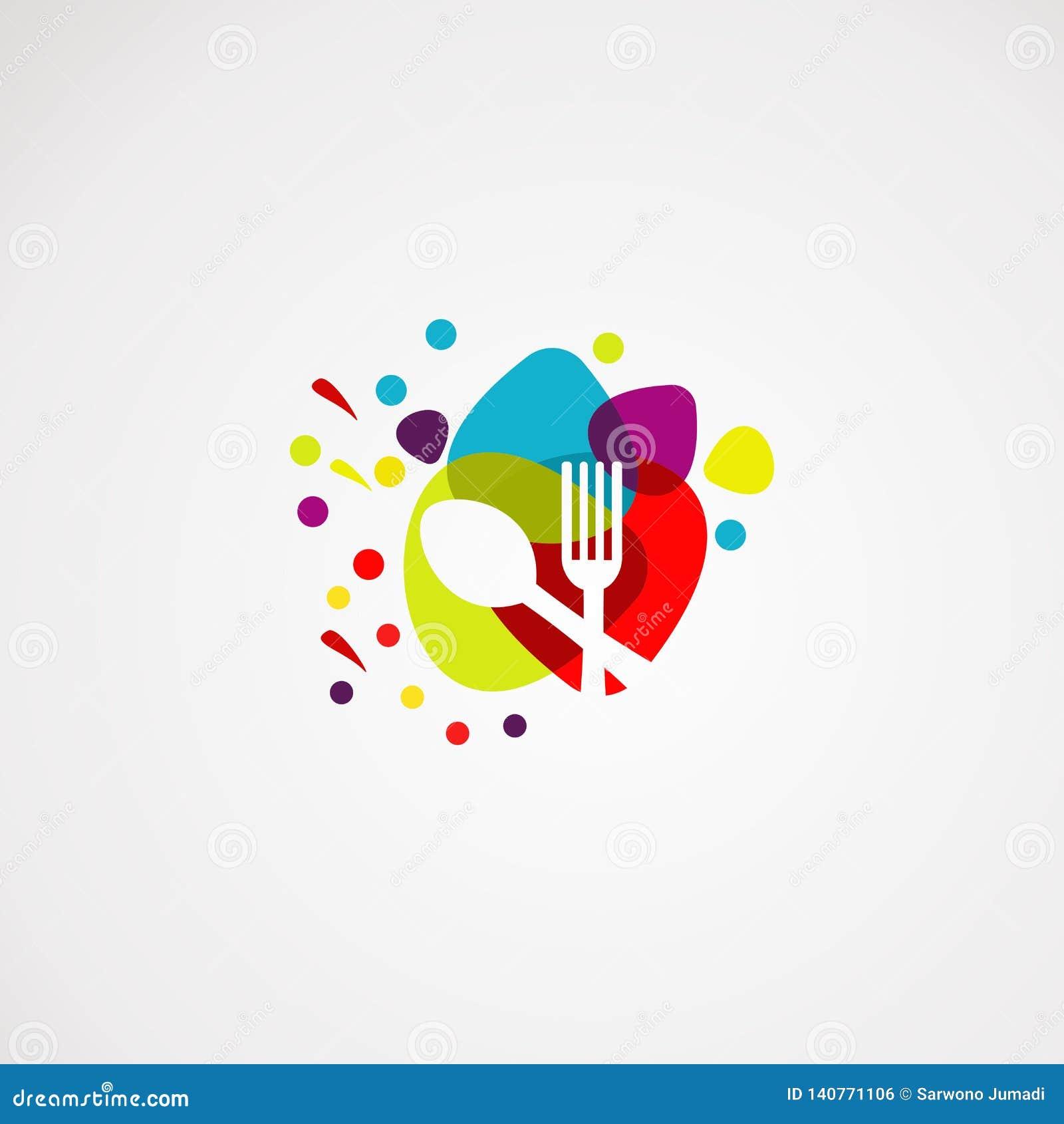 Вектор, значок, элемент, и шаблон логотипа еды цвета для компании