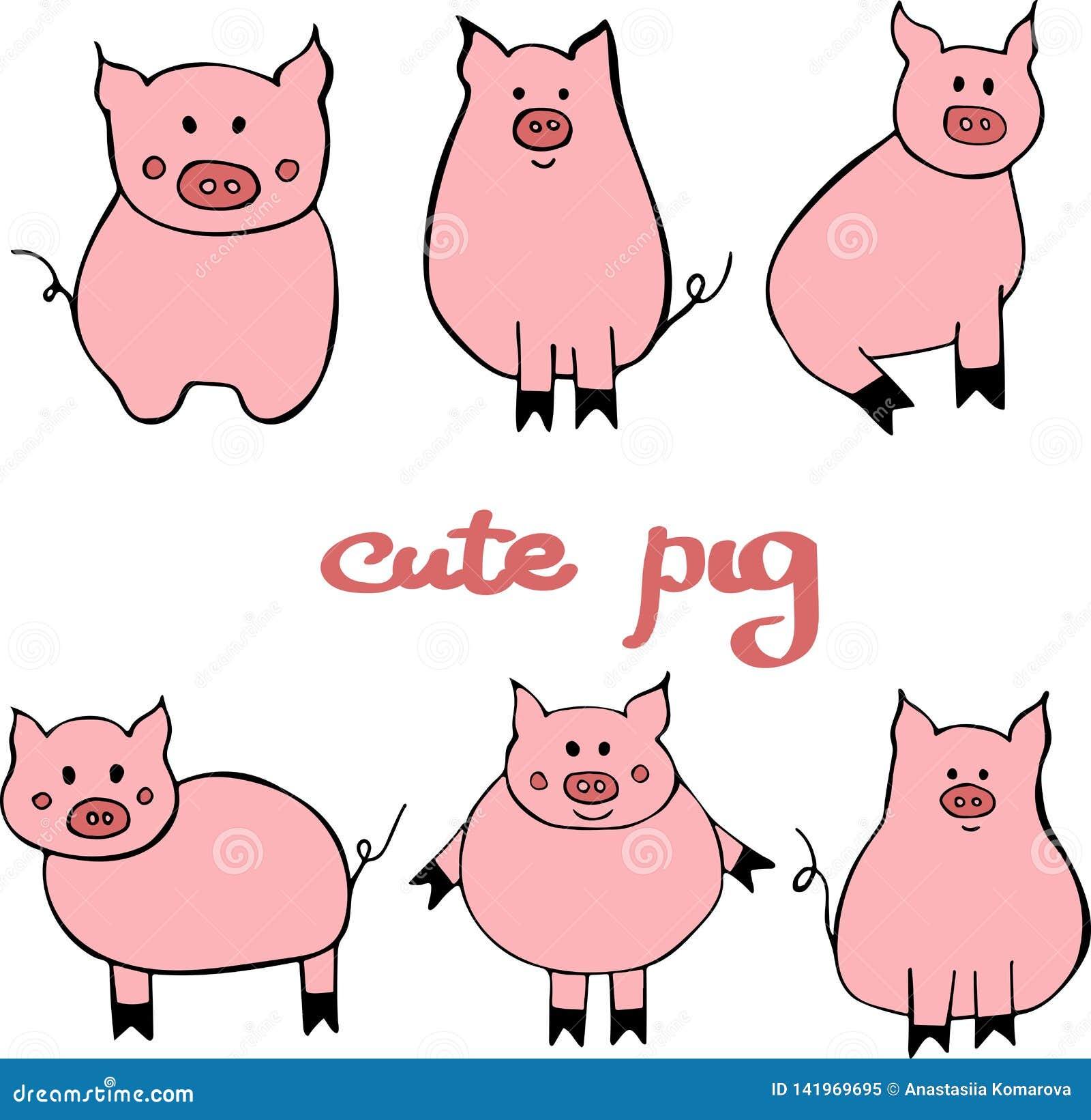 Вектор установил милой свиньи мультфильма Иллюстрация с символом Нового Года 2019
