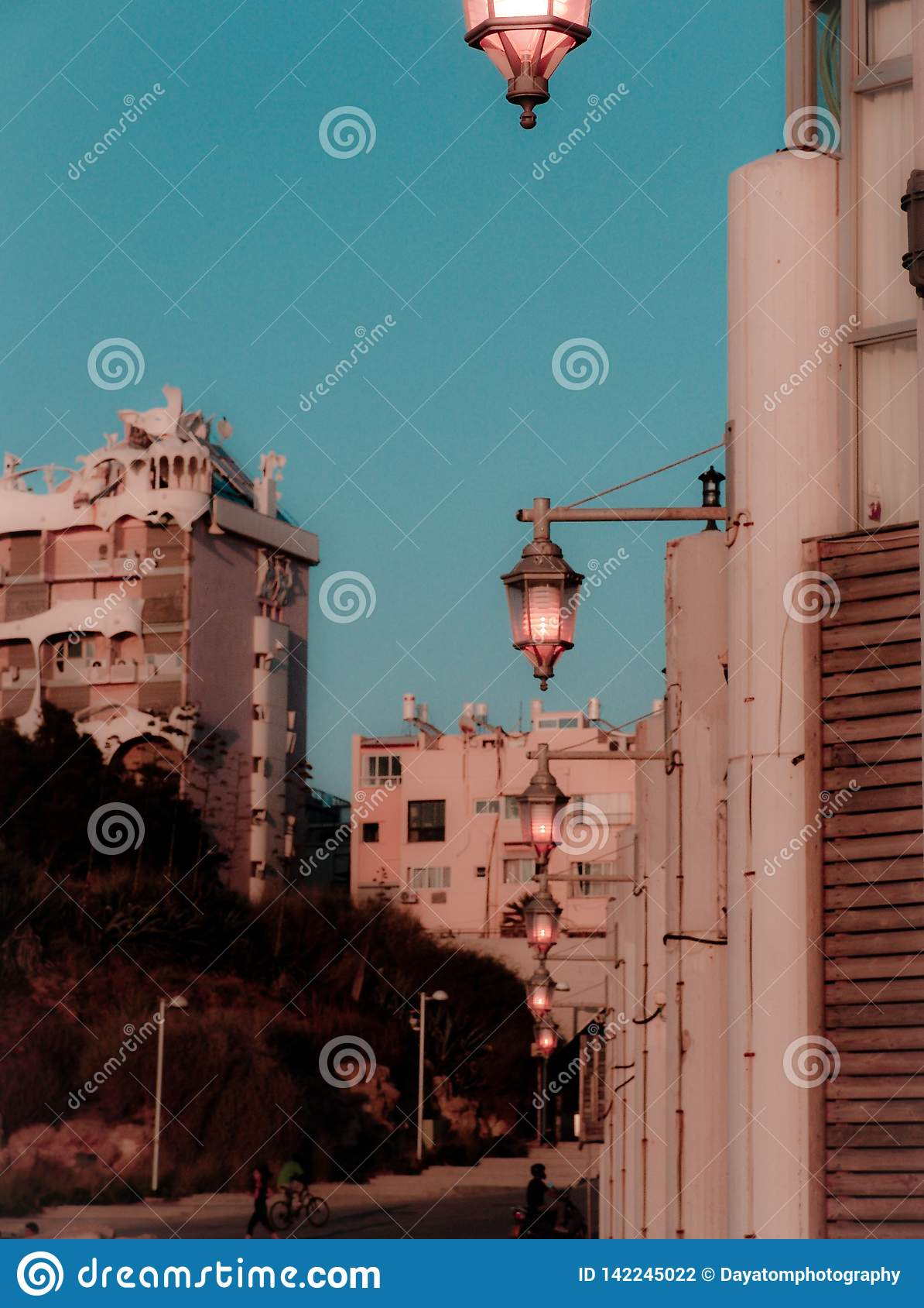 Взгляд улицы на сумраке в зоне залива Тель-Авив с теплыми яркими цветами лета и уличных светов дальше, после захода солнца
