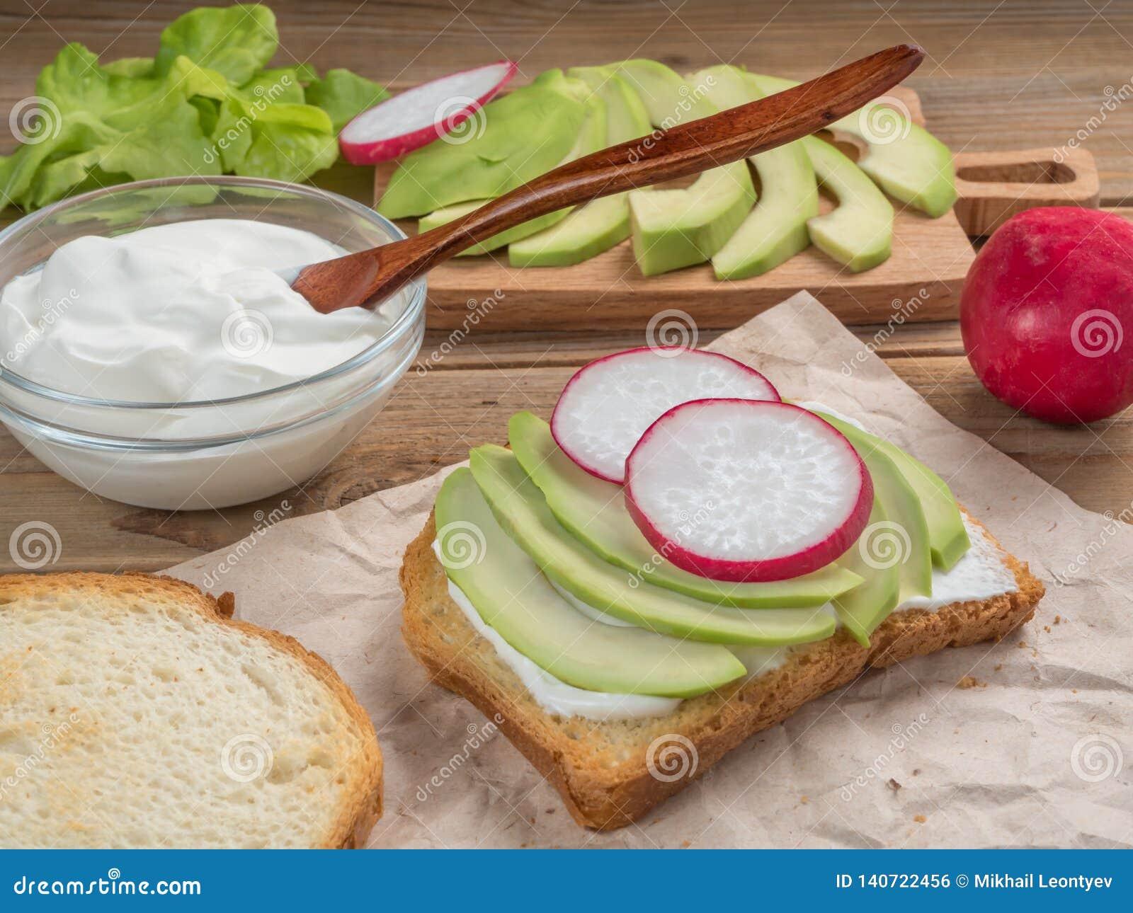 Взгляд тоста с йогуртом, авокадоом и редиской конец вверх сфокусируйте мягко