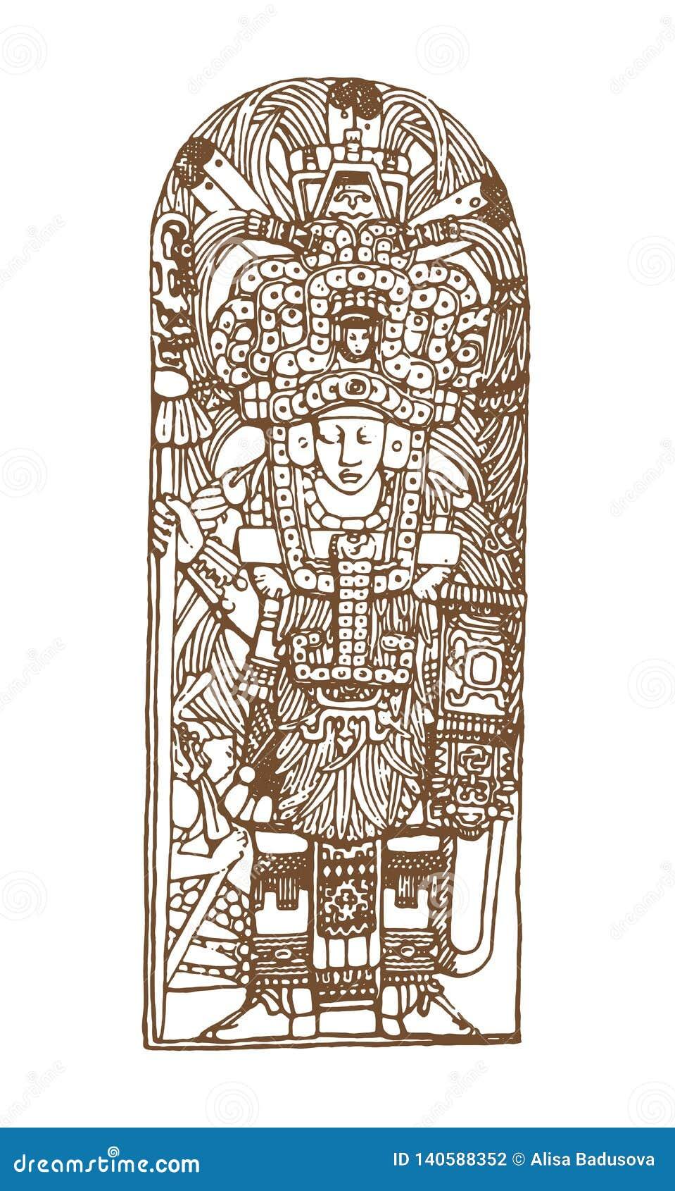 Винтажные графические глифы Майя, inca и ацтекские орнаменты и символы зодиака в старом американском индийском стиле вектор