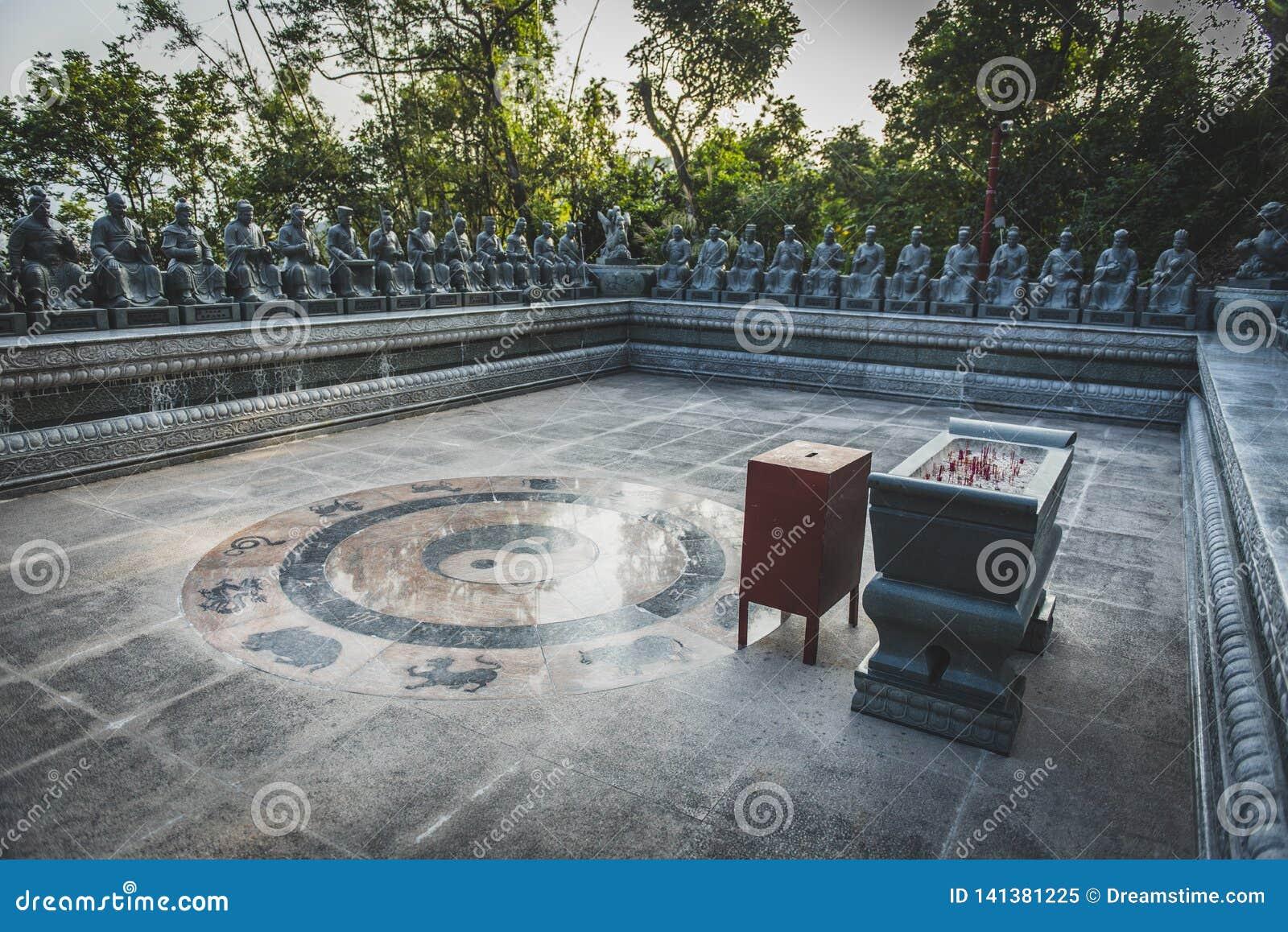 Гонконг, ноябрь 2018 - 10 тысяч человек жирное Sze монастыря Buddhas