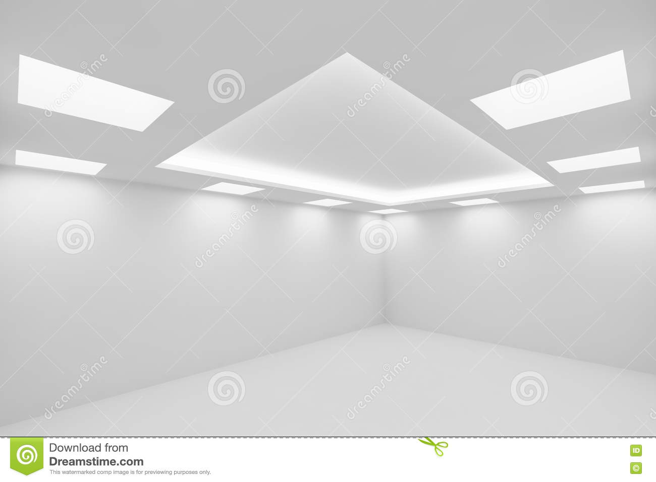 Empty White Room With Square Ceiling Lights Wide View From Corne Stock Illustration Illustration Of Space Spot 77153271