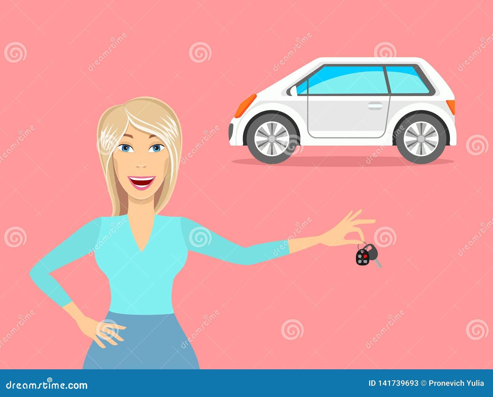 Женщина и автомобиль Женщина управляя автомобилем вектор