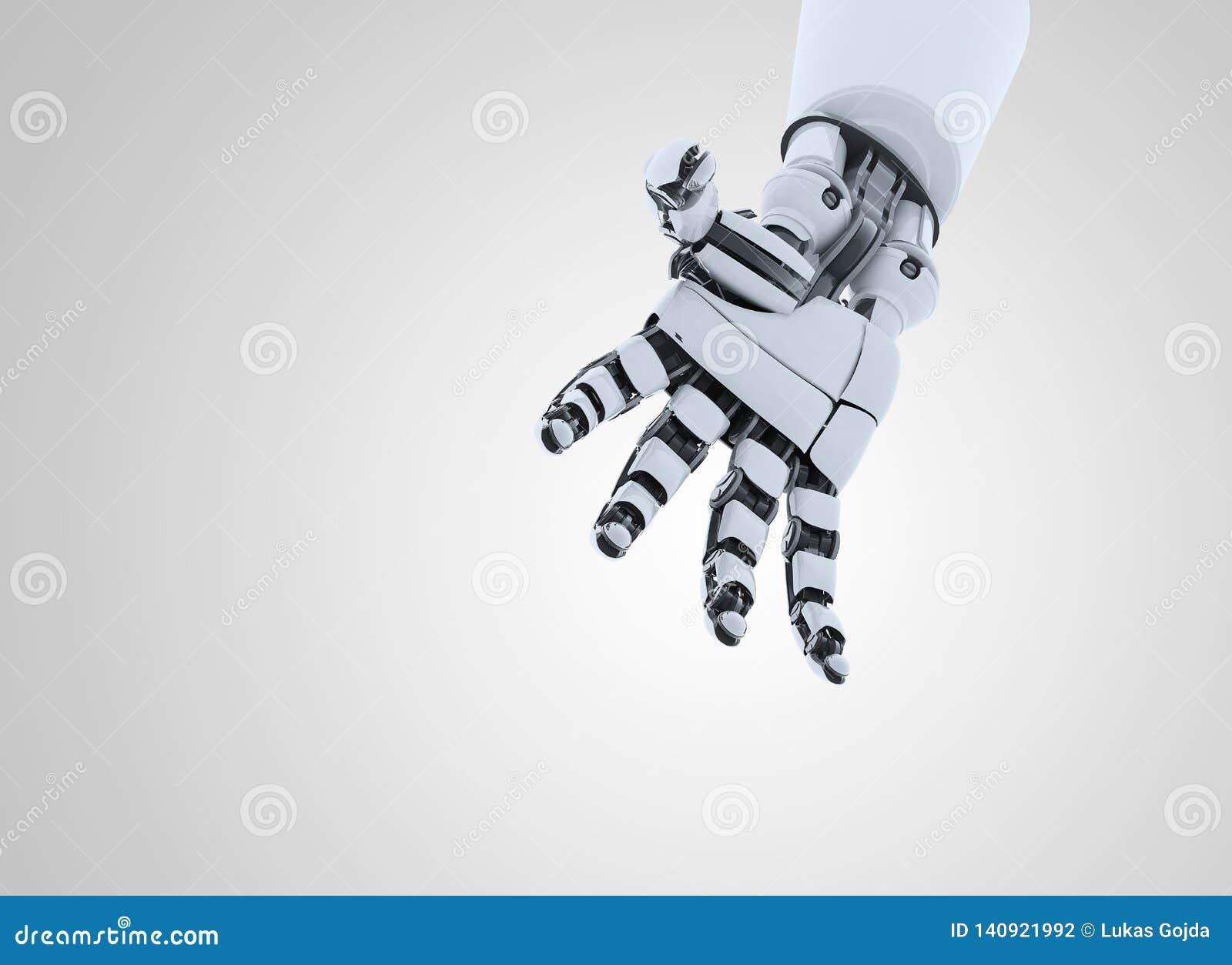 Жест показа руки робота, изолированный на белой предпосылке
