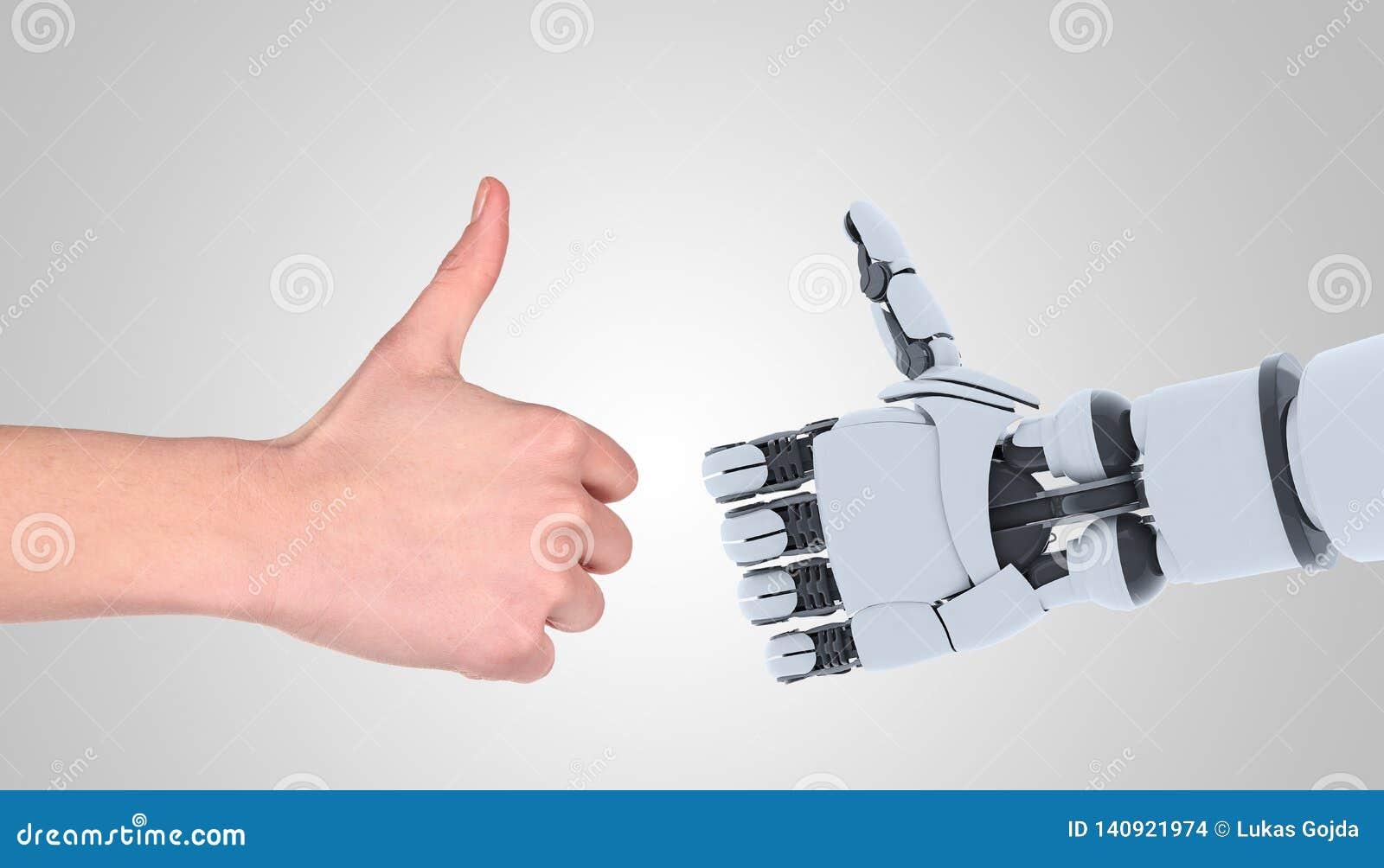 Жест показа рук робота и человека, изолированный на белизне