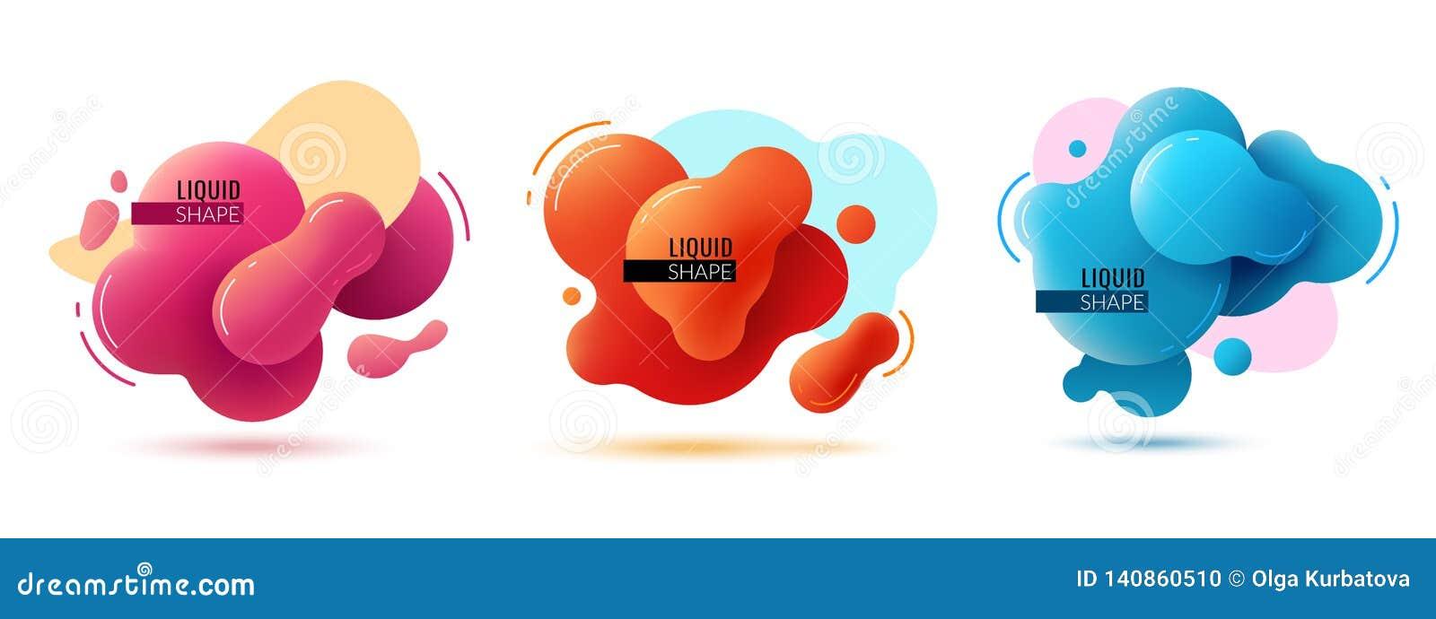 Жидкостные знамена формы Жидкие формы резюмируют элементы цвета красят дизайн текстуры 3d Мемфиса форм графический современный