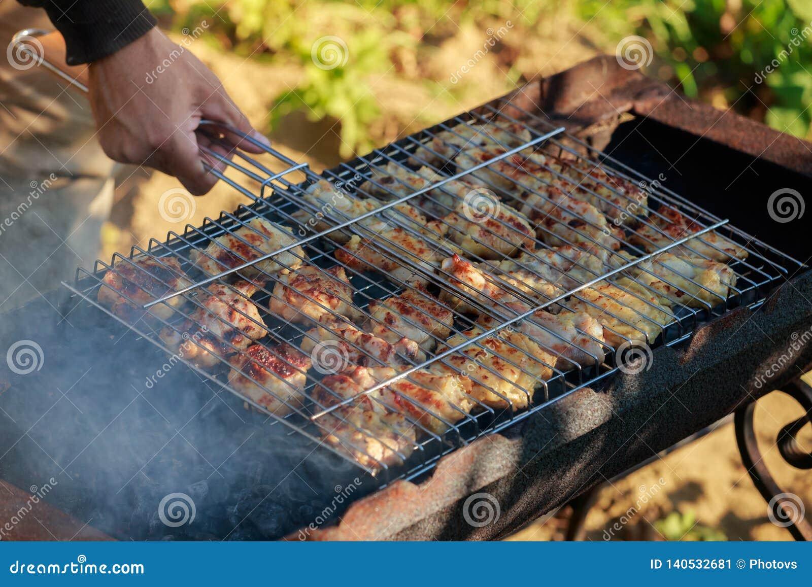Зажаренные бескостные marinated бедренные кости цыпленка и приправы