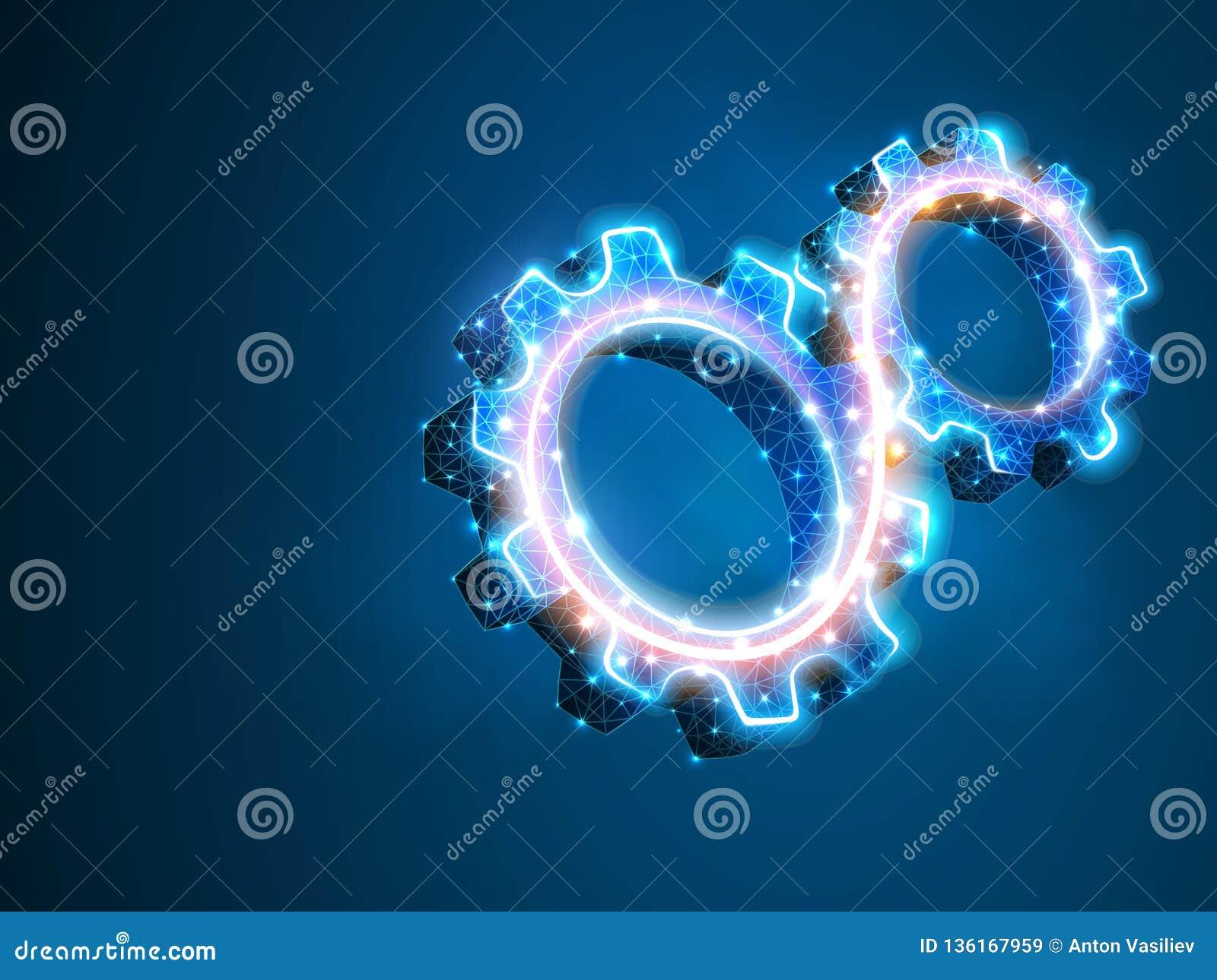 Закручивая шестерни Индустрия, работа двигателя, машина технологии решения дела проектируя полигональное вектора символа низкое п
