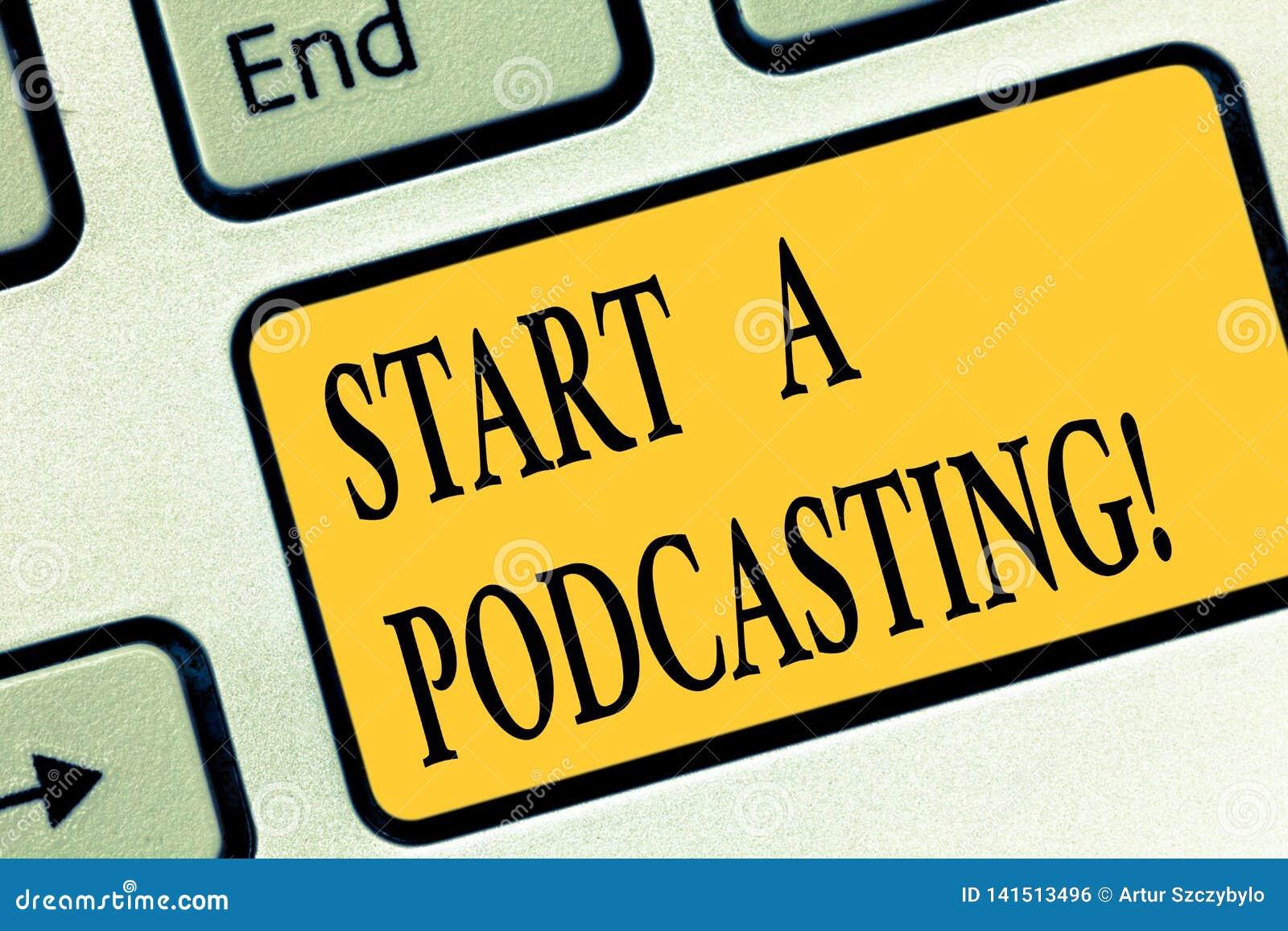 Запись Podcasting начала a показа примечания Подготовка фото дела showcasing и распределение аудио файлов используя RSS