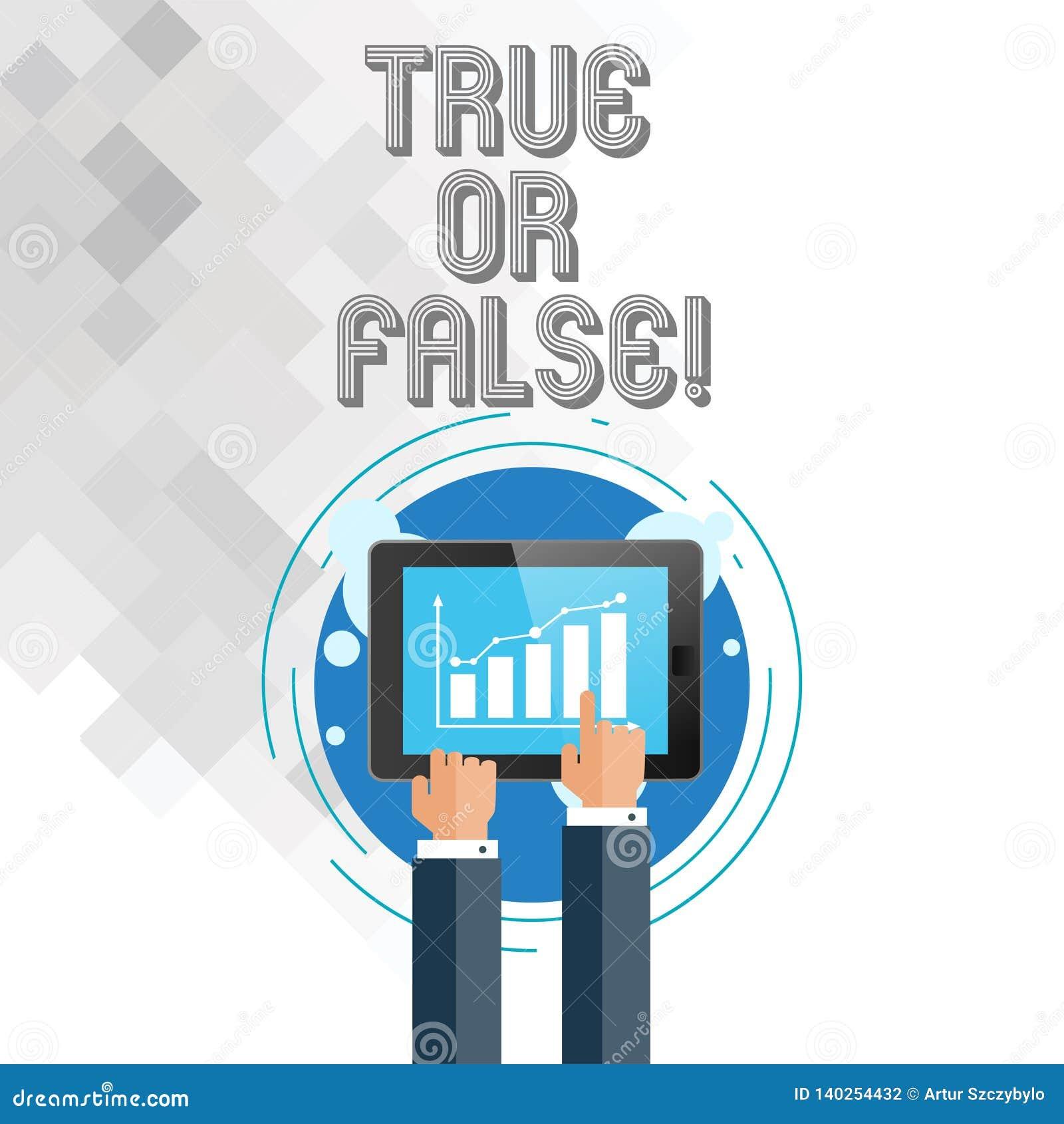 Запись showingTrue примечания или ложный Showcasing фото дела решает между фактом или говорить запутанность сомнения лож