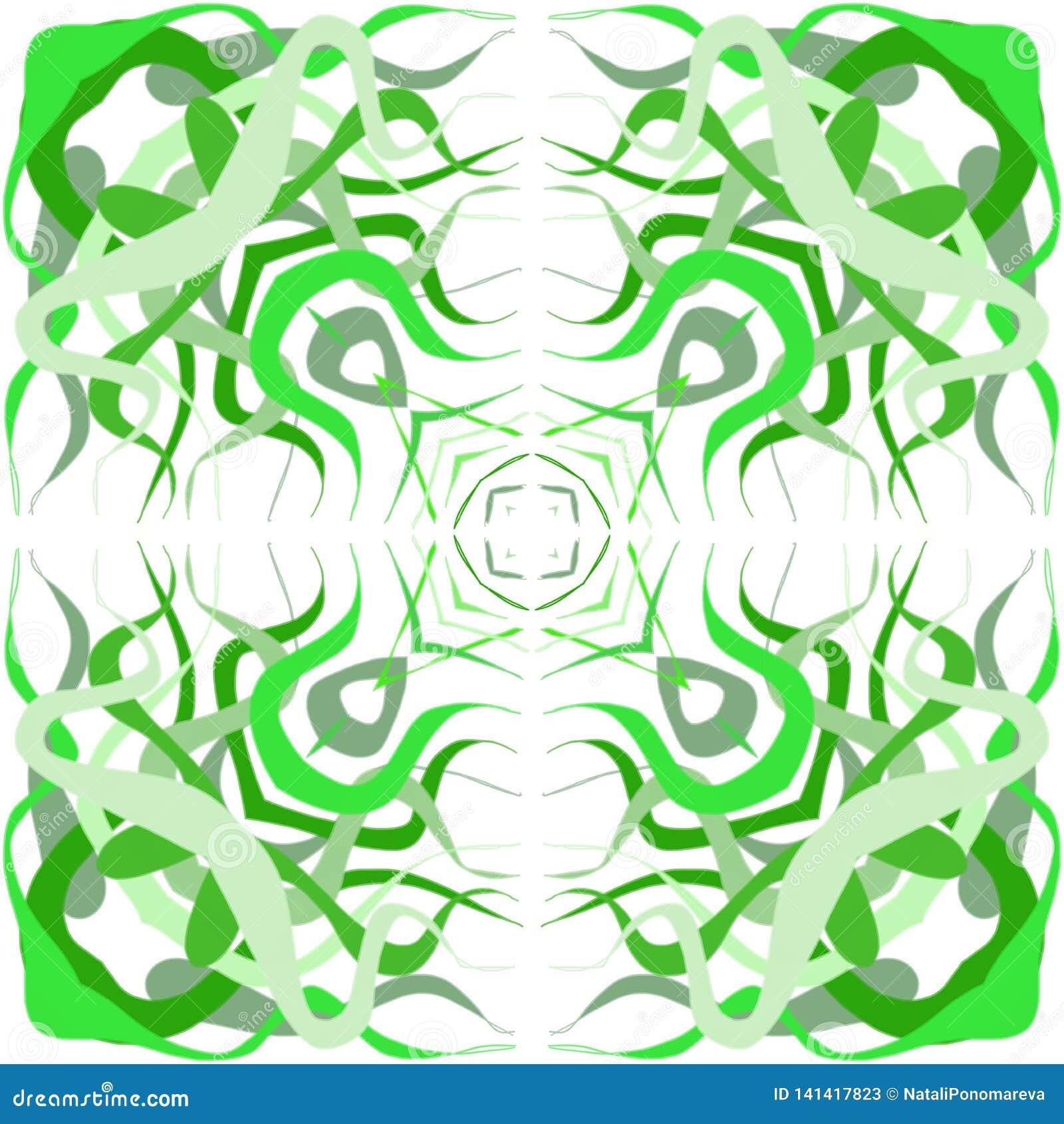 Запутанность зеленой травы, водорослей